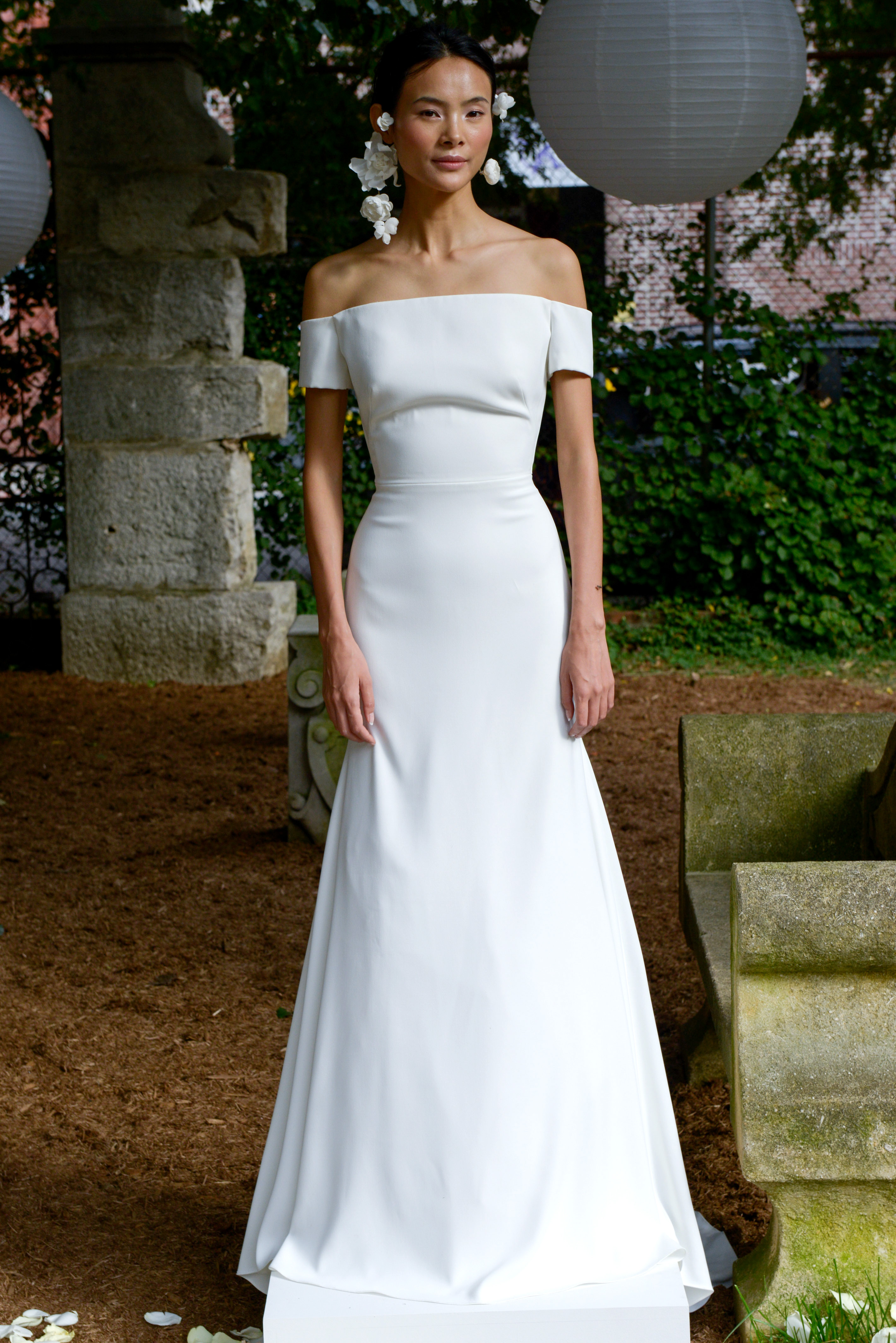lela rose wedding dress bridal market fall 2018 off the shoulder sheath