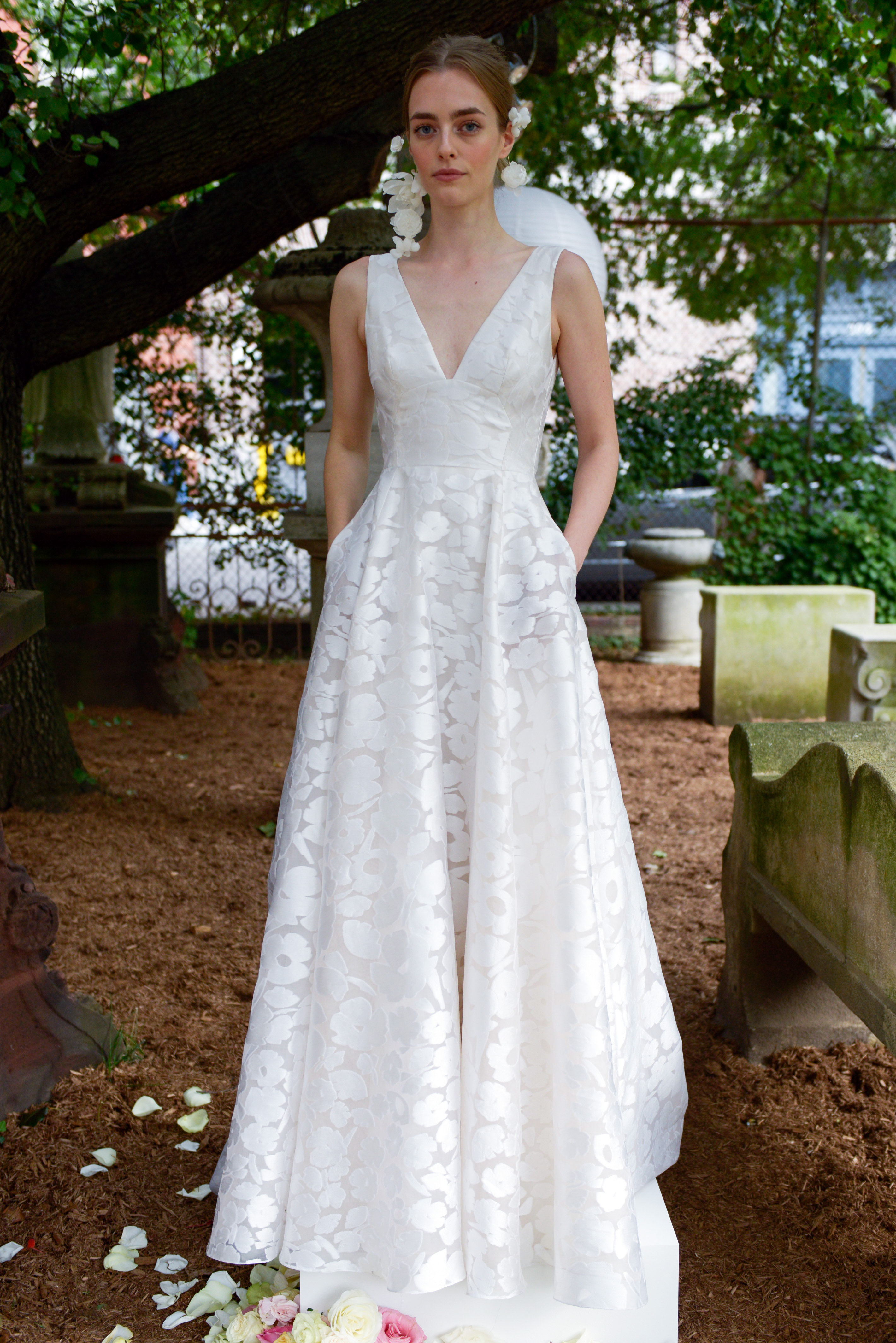 lela rose wedding dress bridal market fall 2018 v-neck lace
