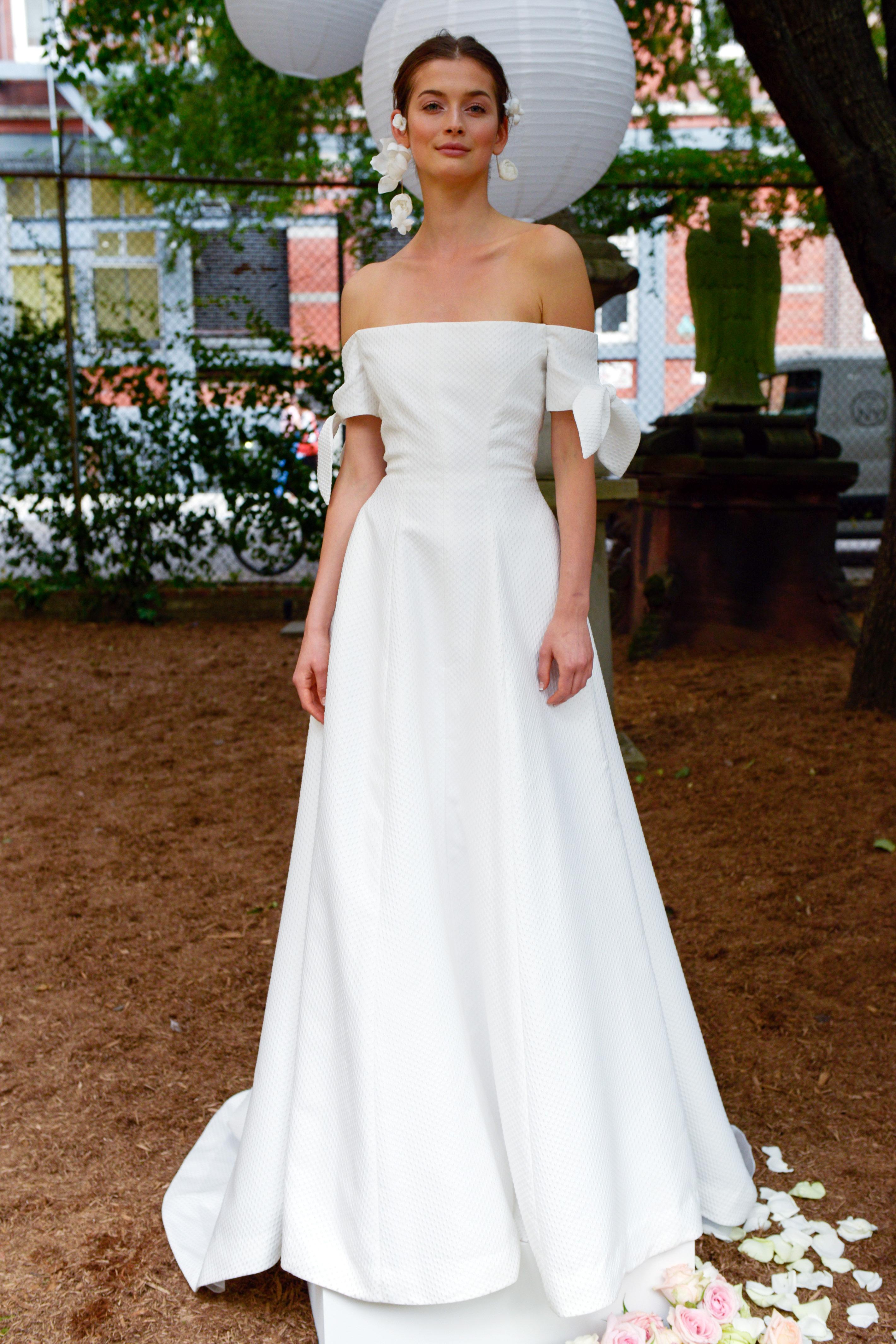 lela rose wedding dress bridal market fall 2018 off the shoulder long