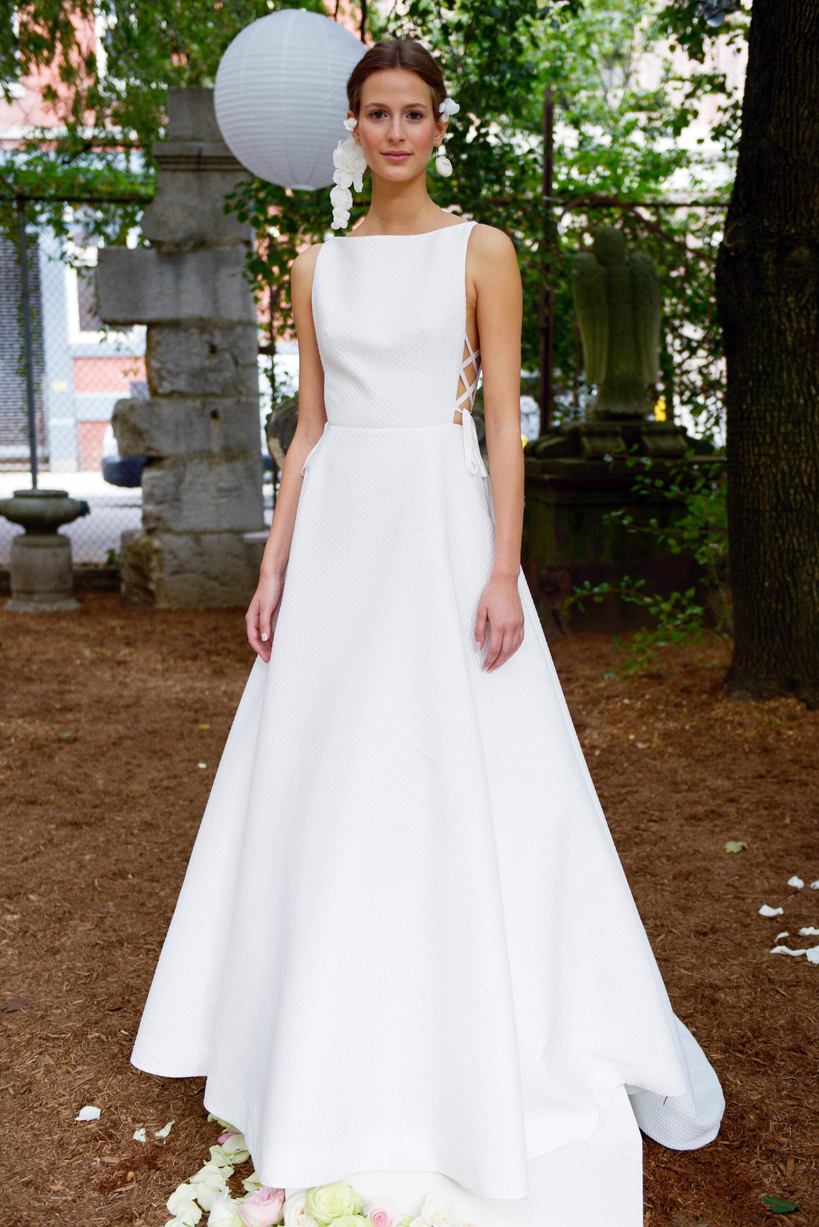 lela rose wedding dress bridal market fall 2018 high neck bateau sleeveless