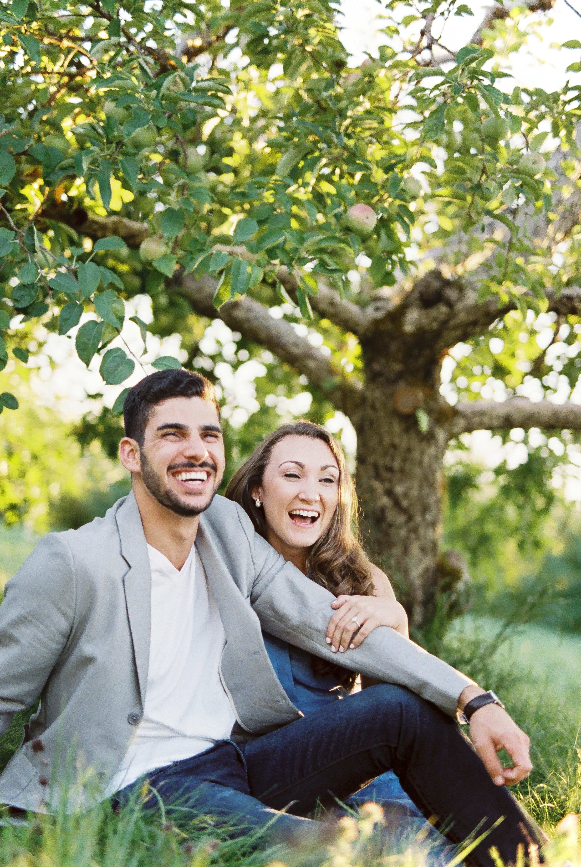couple apple orchard