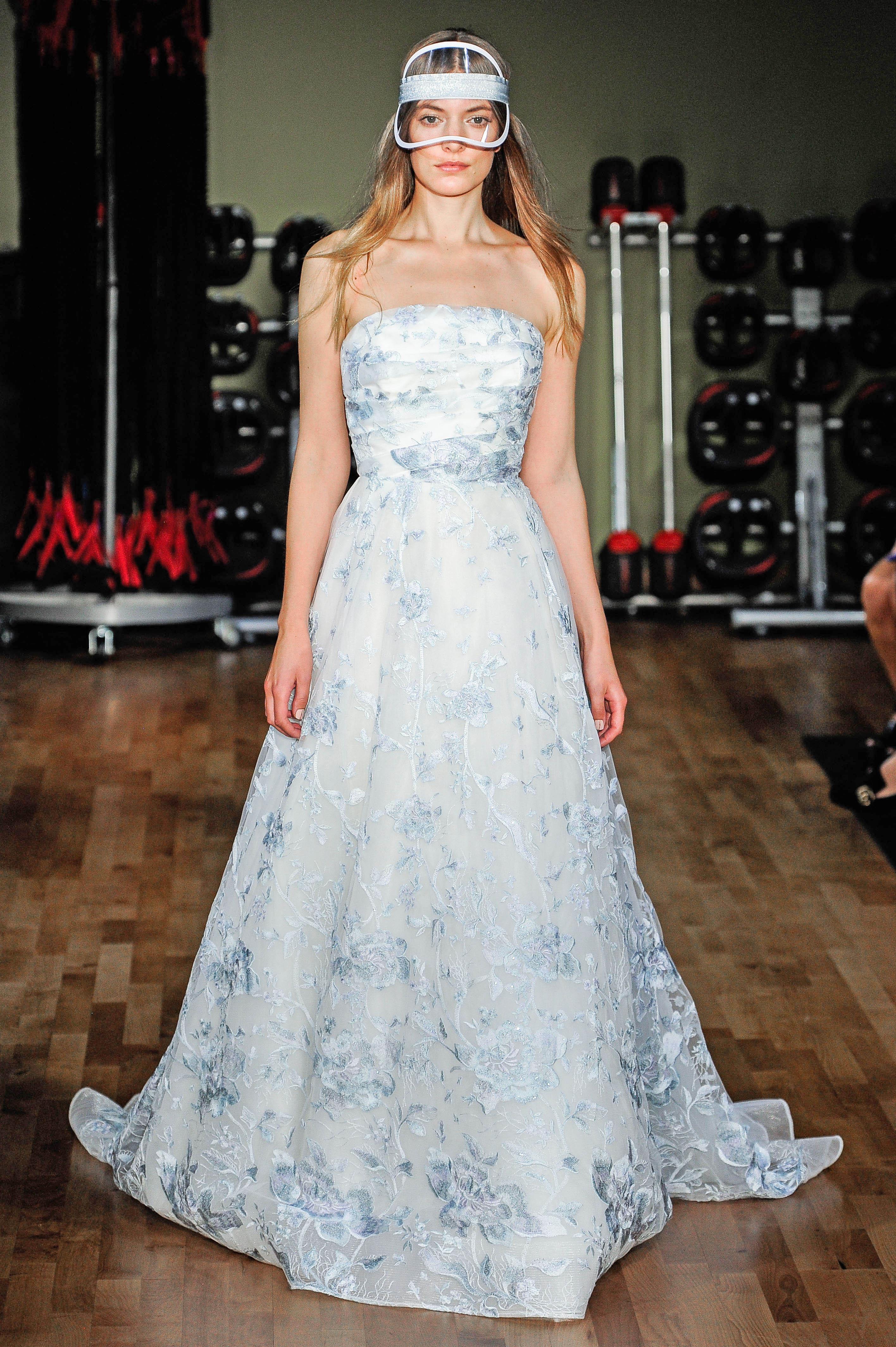 rivini by rita vinieris strapless blue floral wedding dress fall 2018