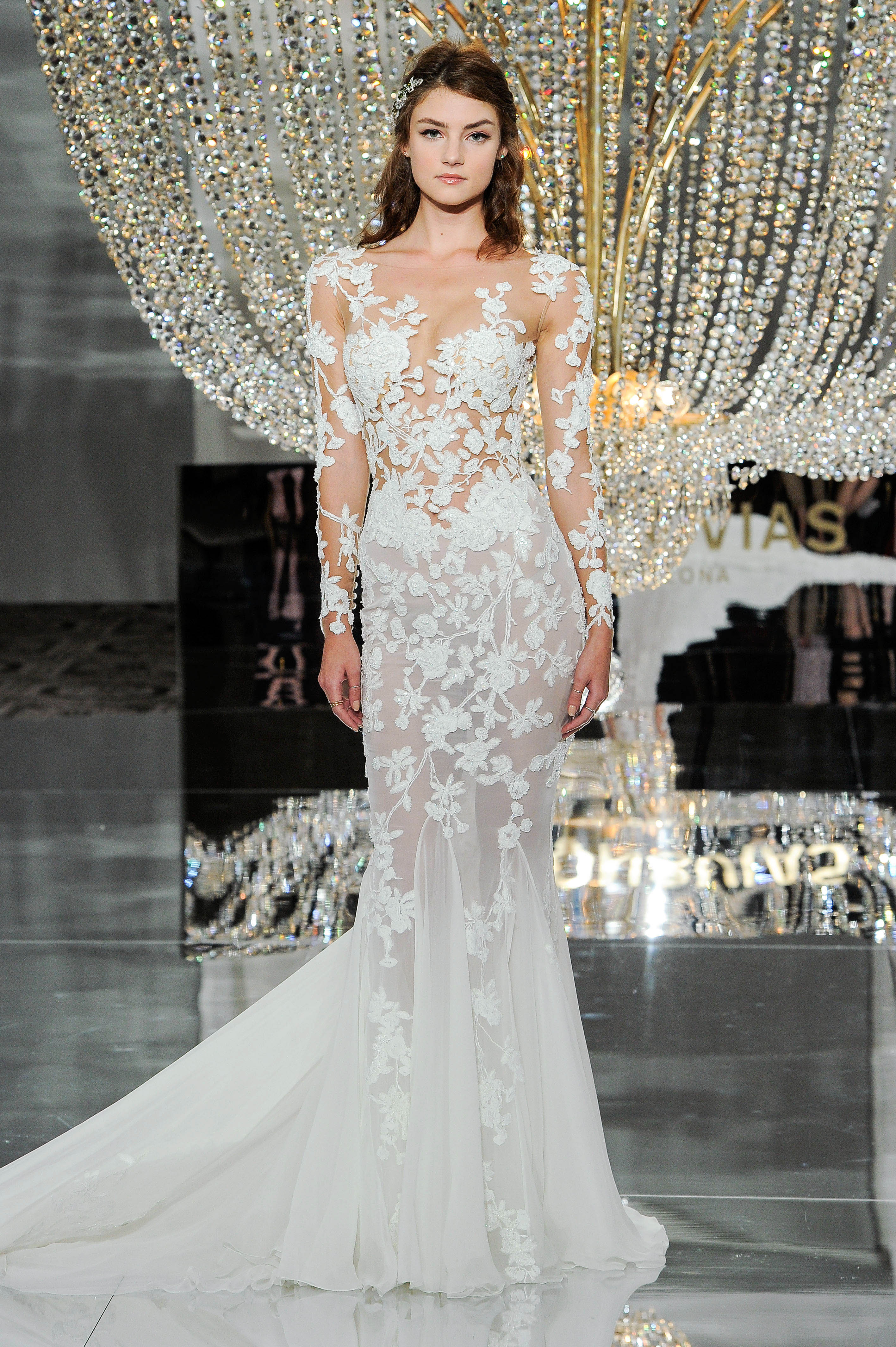 pronovias wedding dress fall 2018 long sleeve sheer lace mermaid