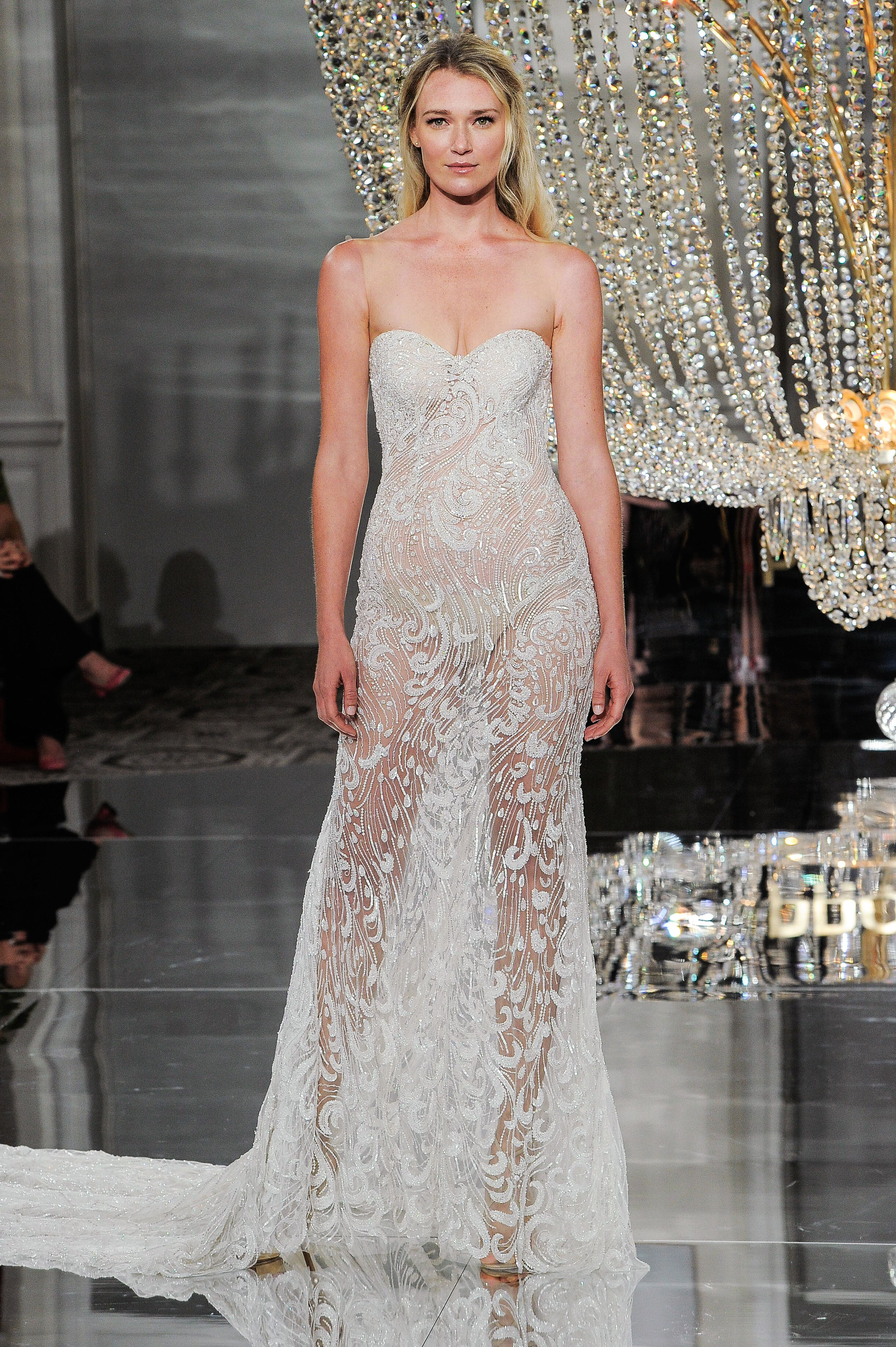 pronovias wedding dress fall 2018 illusion strapless embellished sheer
