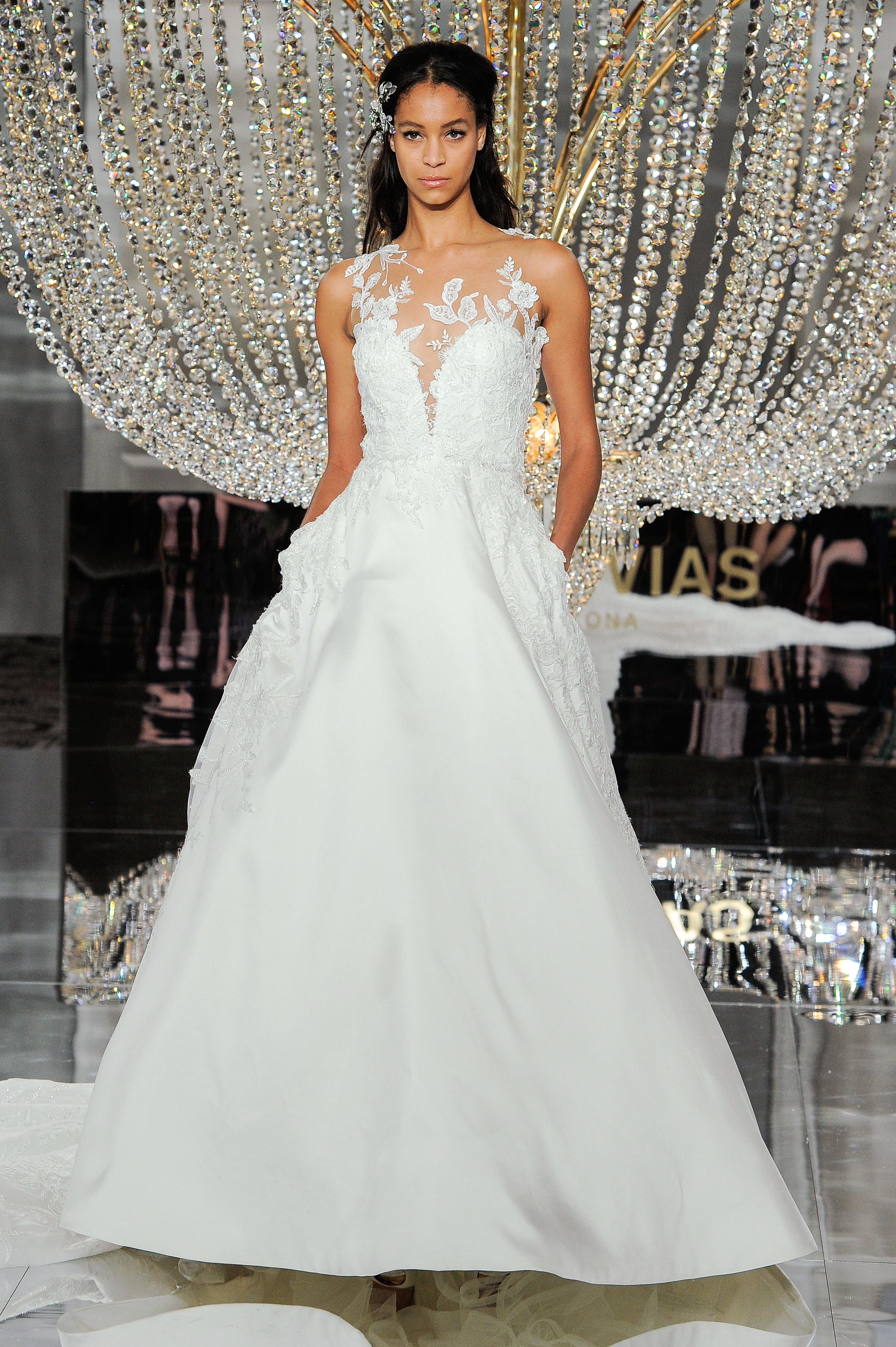pronovias wedding dress fall 2018 illusion ball gown embellished