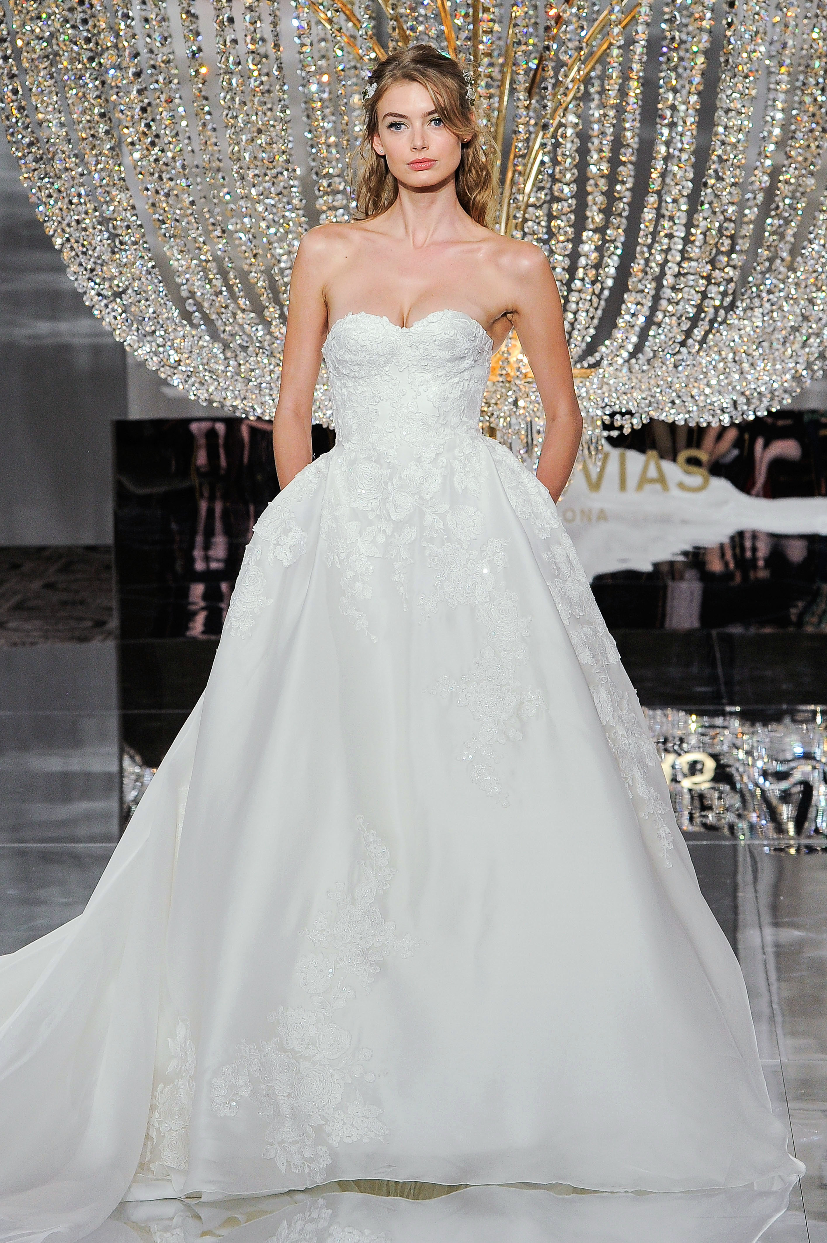 pronovias wedding dress fall 2018 sweetheart ball gown lace pockets