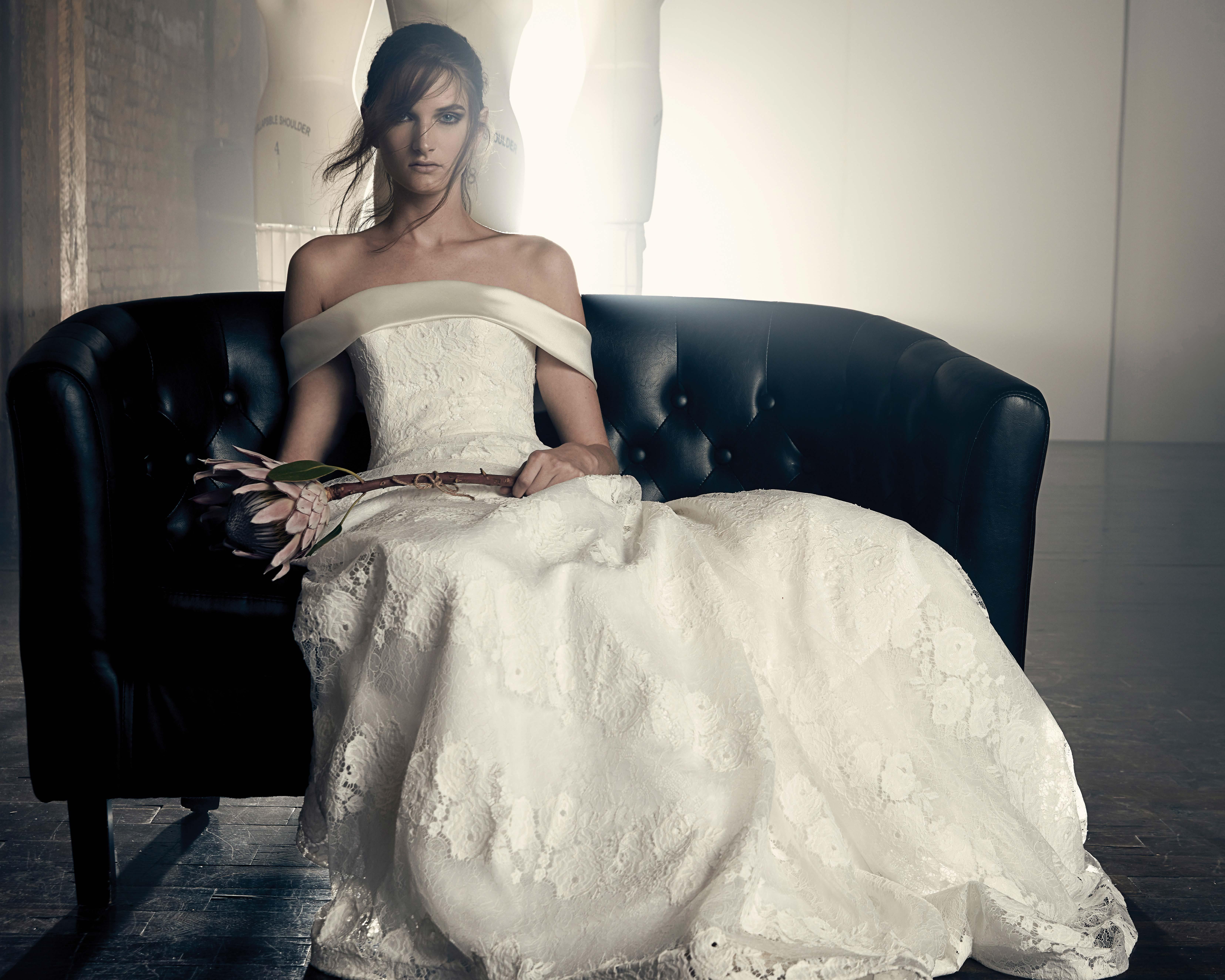 sareh nouri fall 2018 off the shoulder lace wedding dress