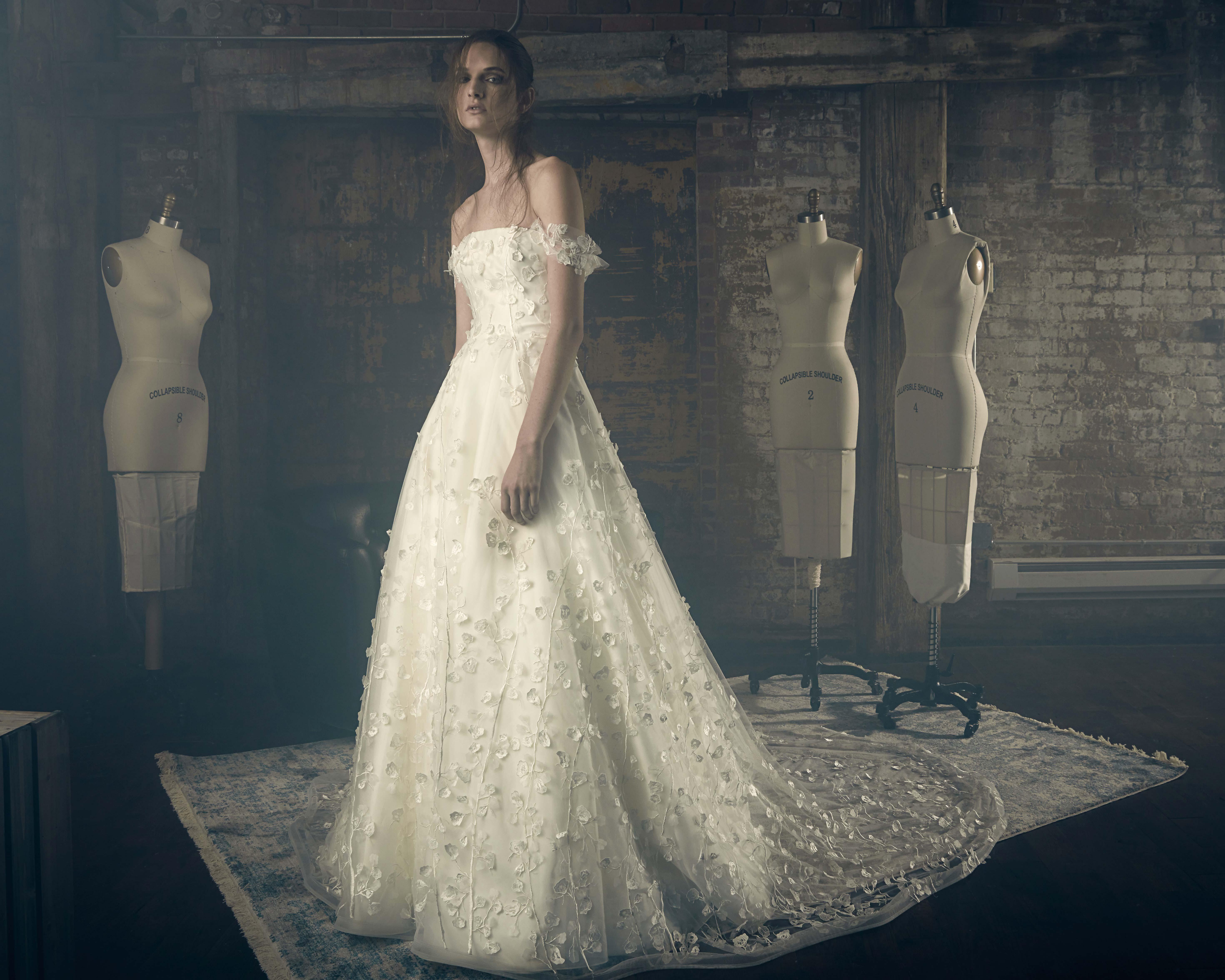 sareh nouri fall 2018 off shoulder petal detail wedding dress