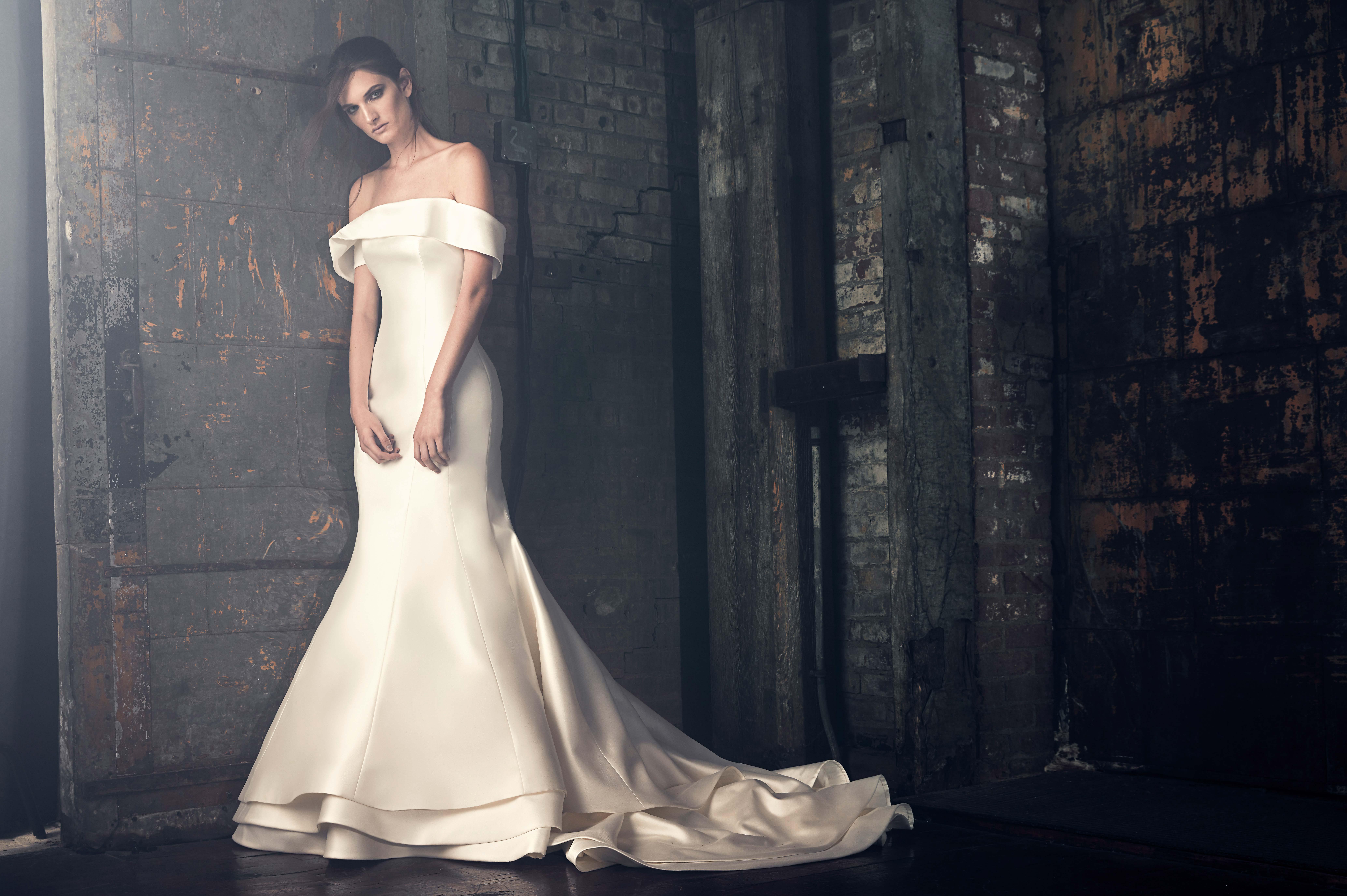 sareh nouri fall 2018 off shoulder trumpet wedding dress