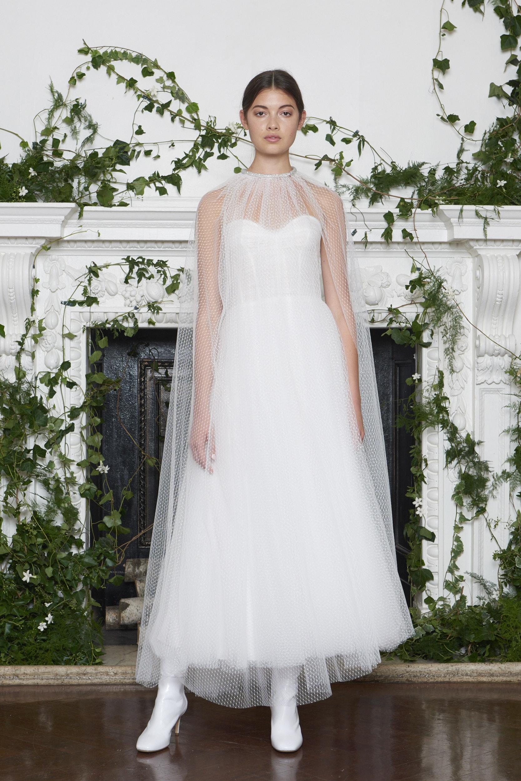 Monique Lhuillier Fall 2018 Tea-Length Tulle Wedding Dress