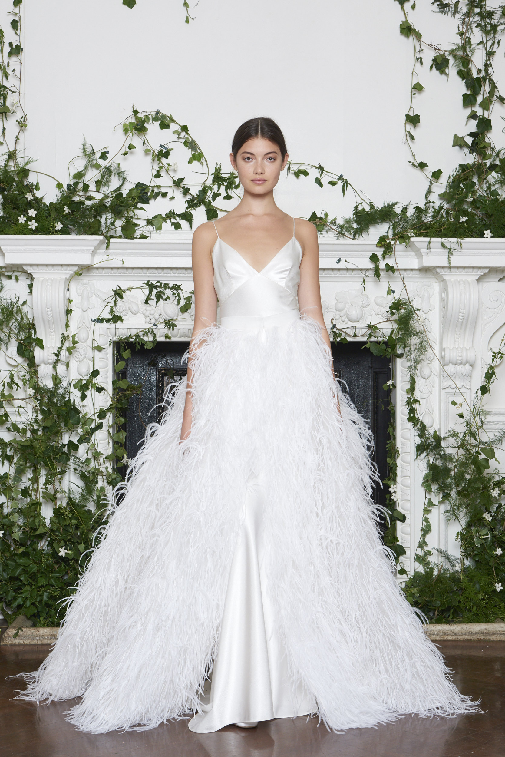 Monique Lhuillier Fall 2018 Ball Gown with Feather Overskirt
