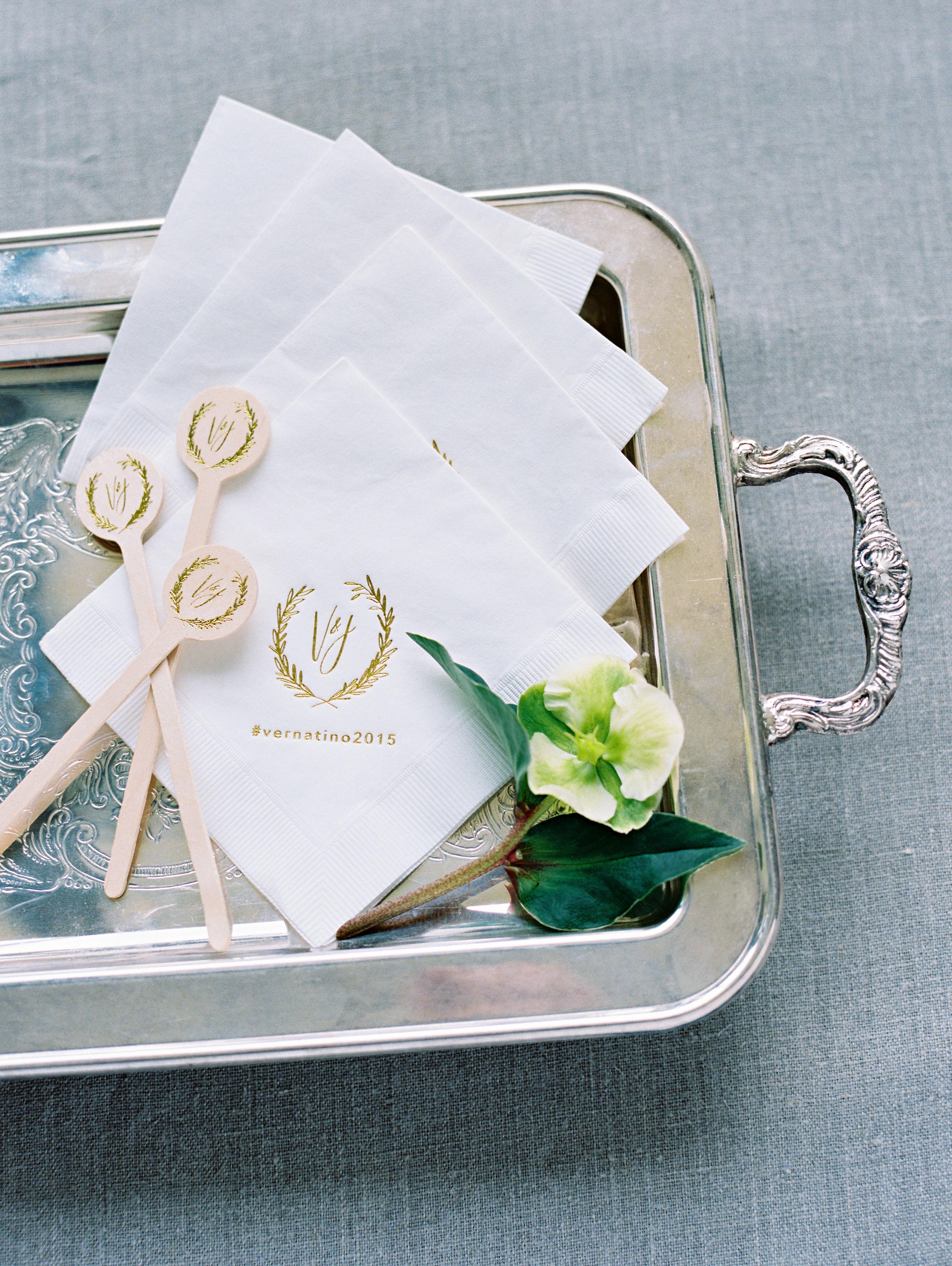 gold foil napkins stirrers
