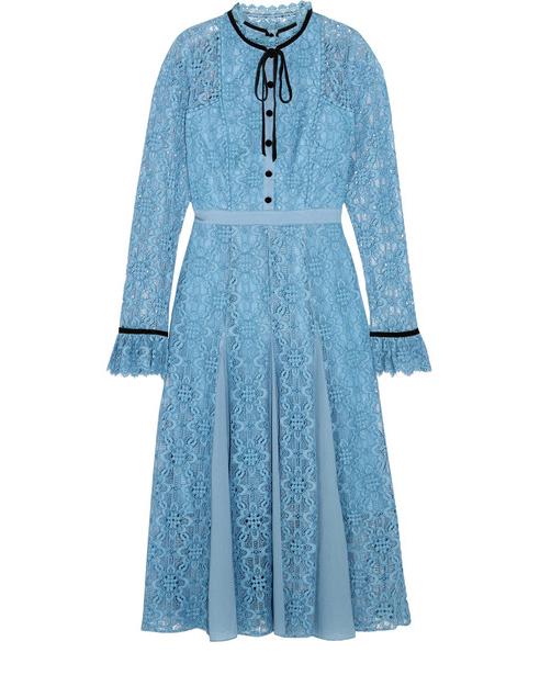 blue high collar  lace long sleeve