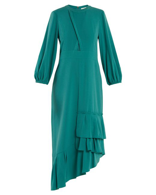 teal long sleeve asymmetrical dress