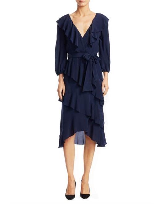blue v-neck flutter dress