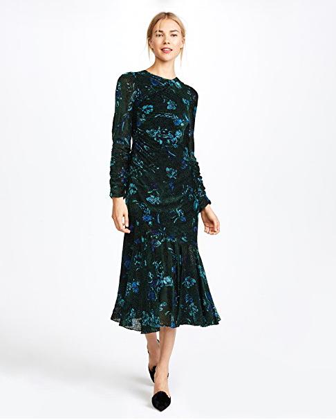 black blue floral long sleeve