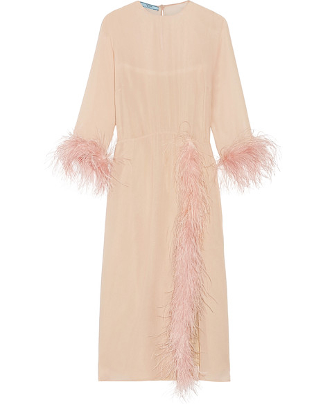 pink dress feather sleeves