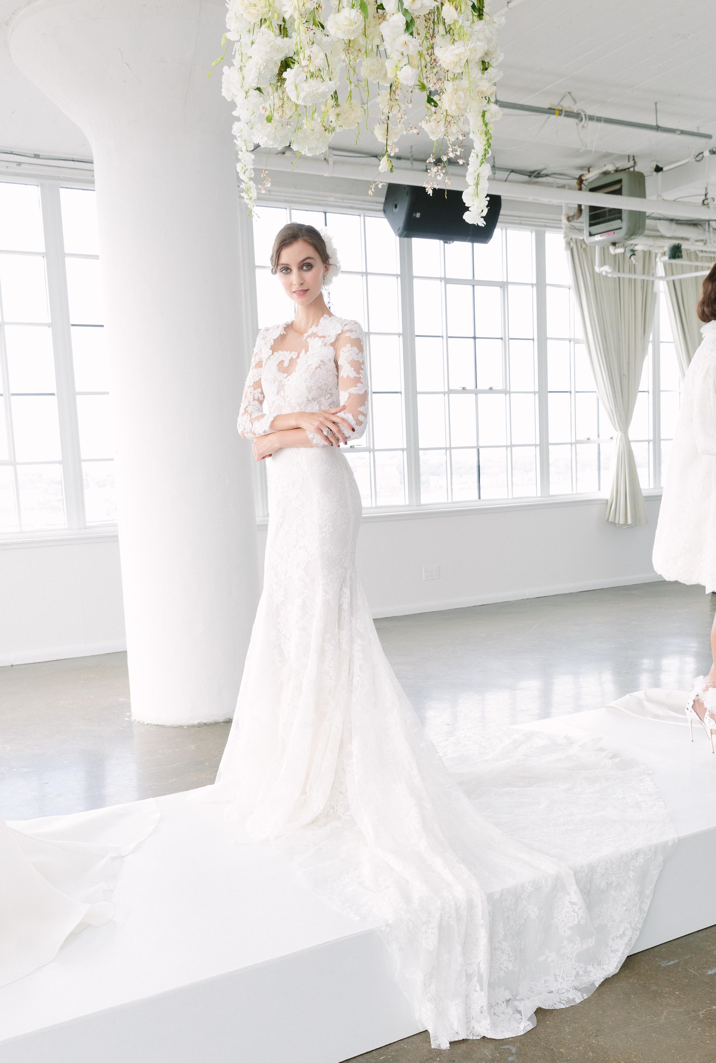 Marchesa Fall 2018 Wedding Dress, lace sheath with long sleeves