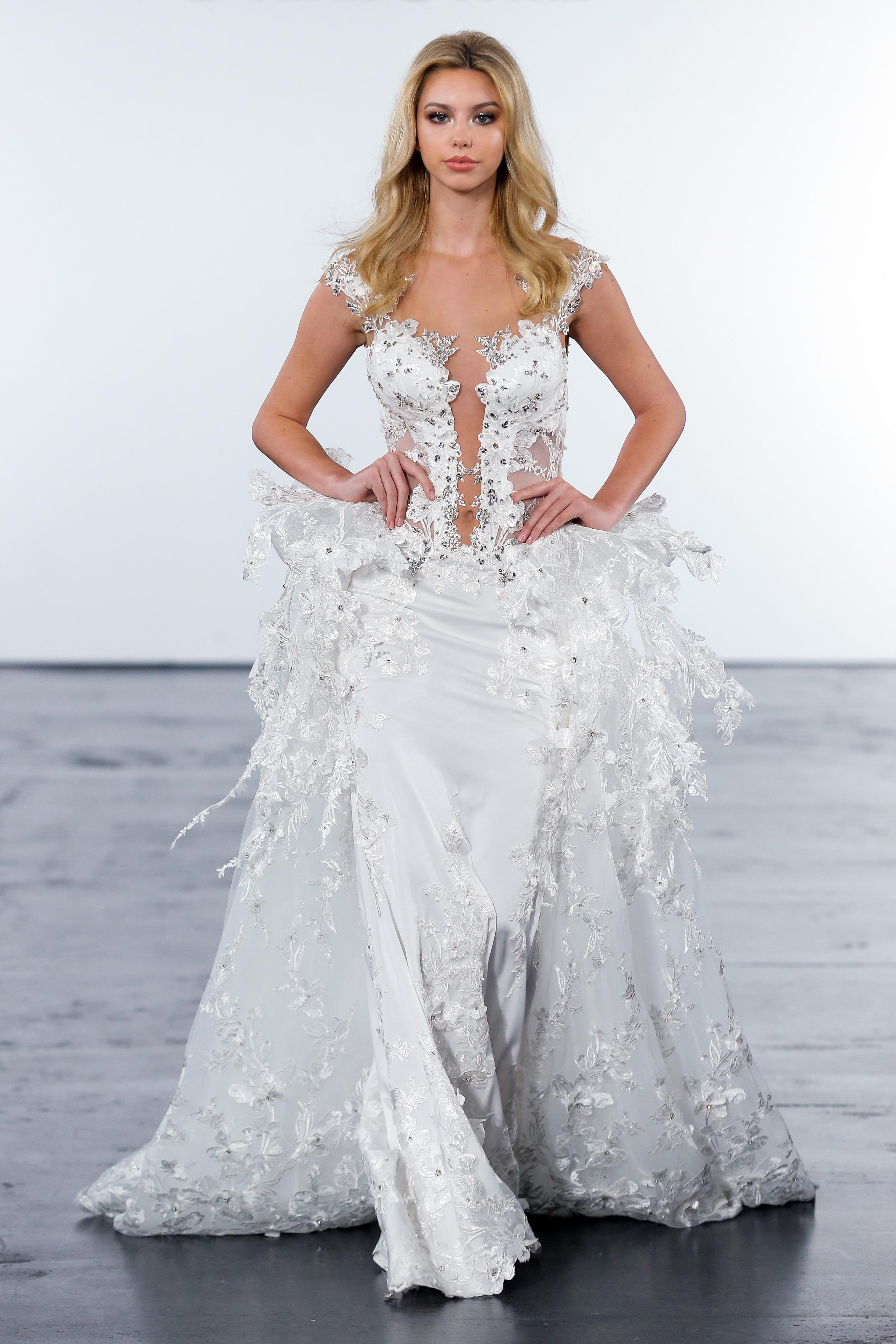 pnina tornai fall 2018 embellished gown sheer train wedding dress