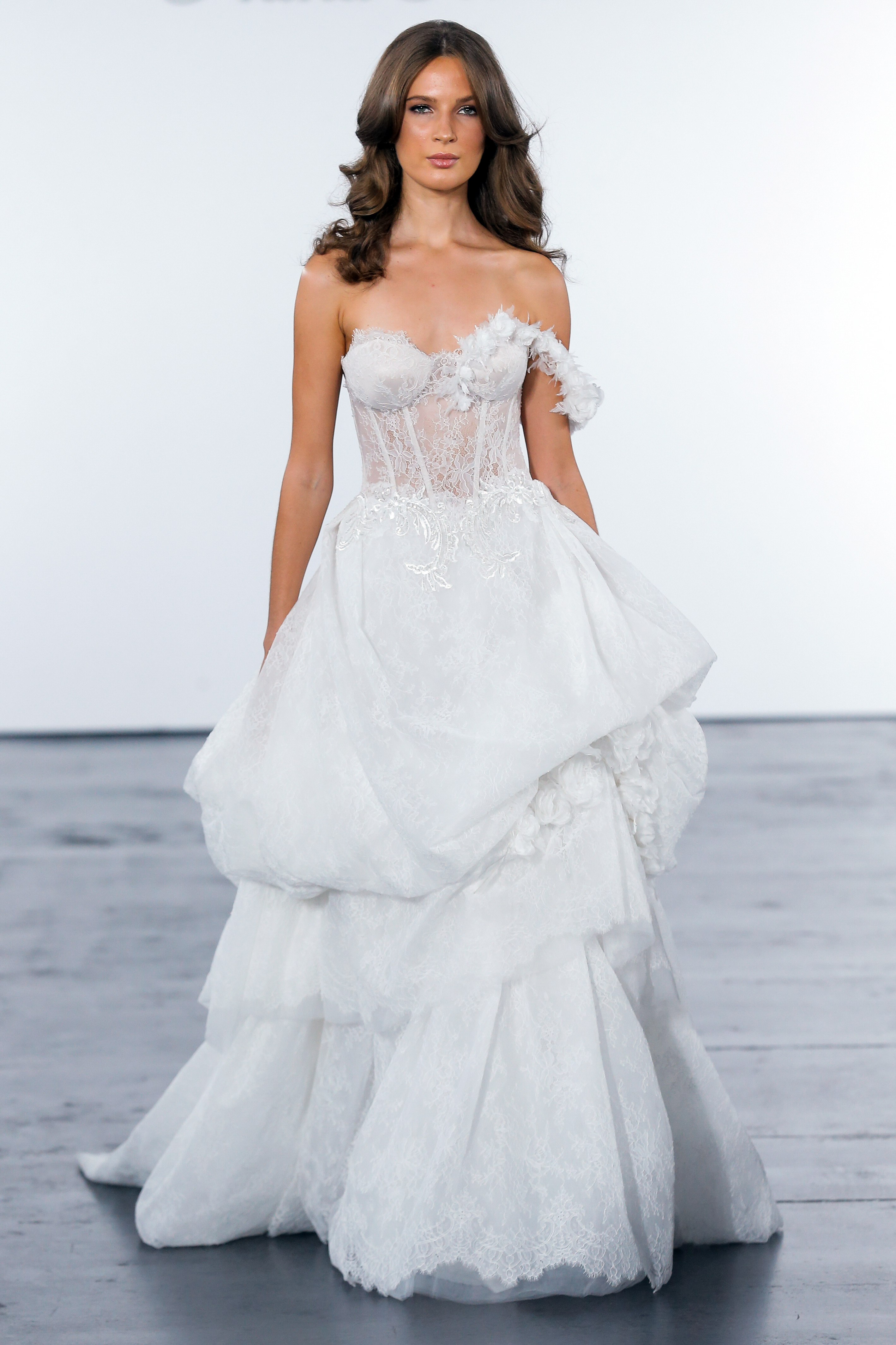 pnina tornai fall 2018 one strap corsetted wedding dress