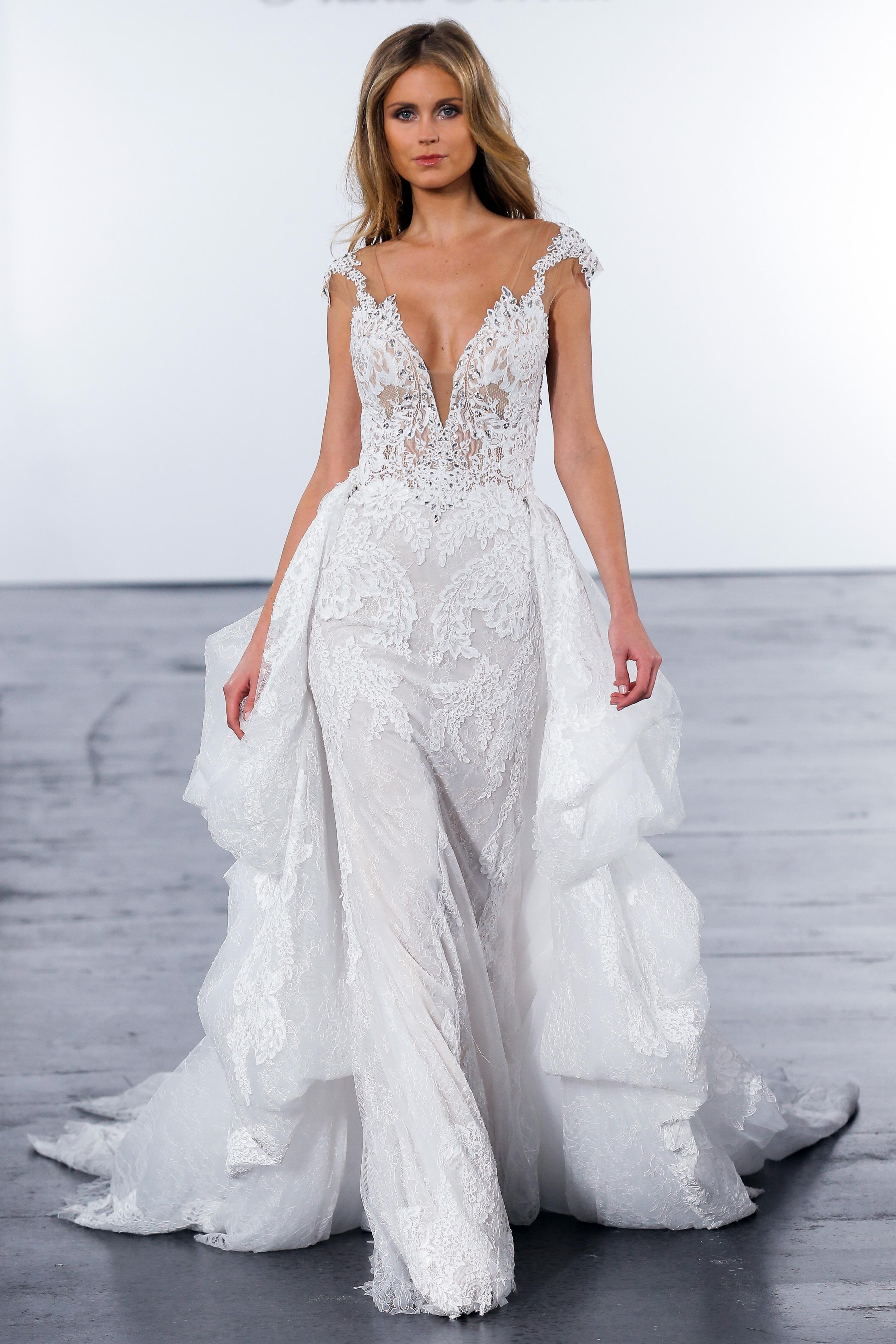 pnina tornai fall 2018 plunging v-neck long train wedding dress