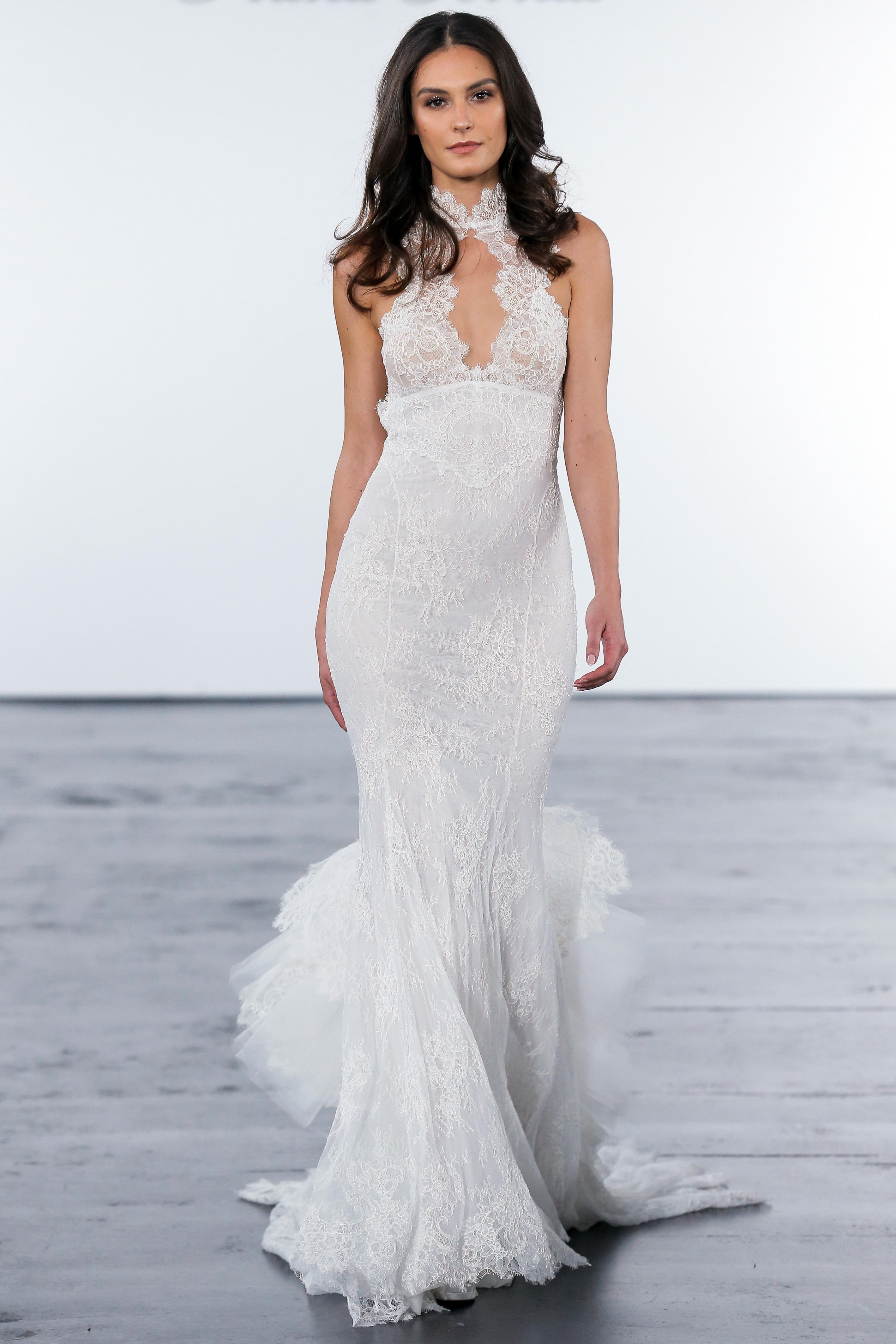 pnina tornai fall 2018 lace high neck trumpet wedding dress