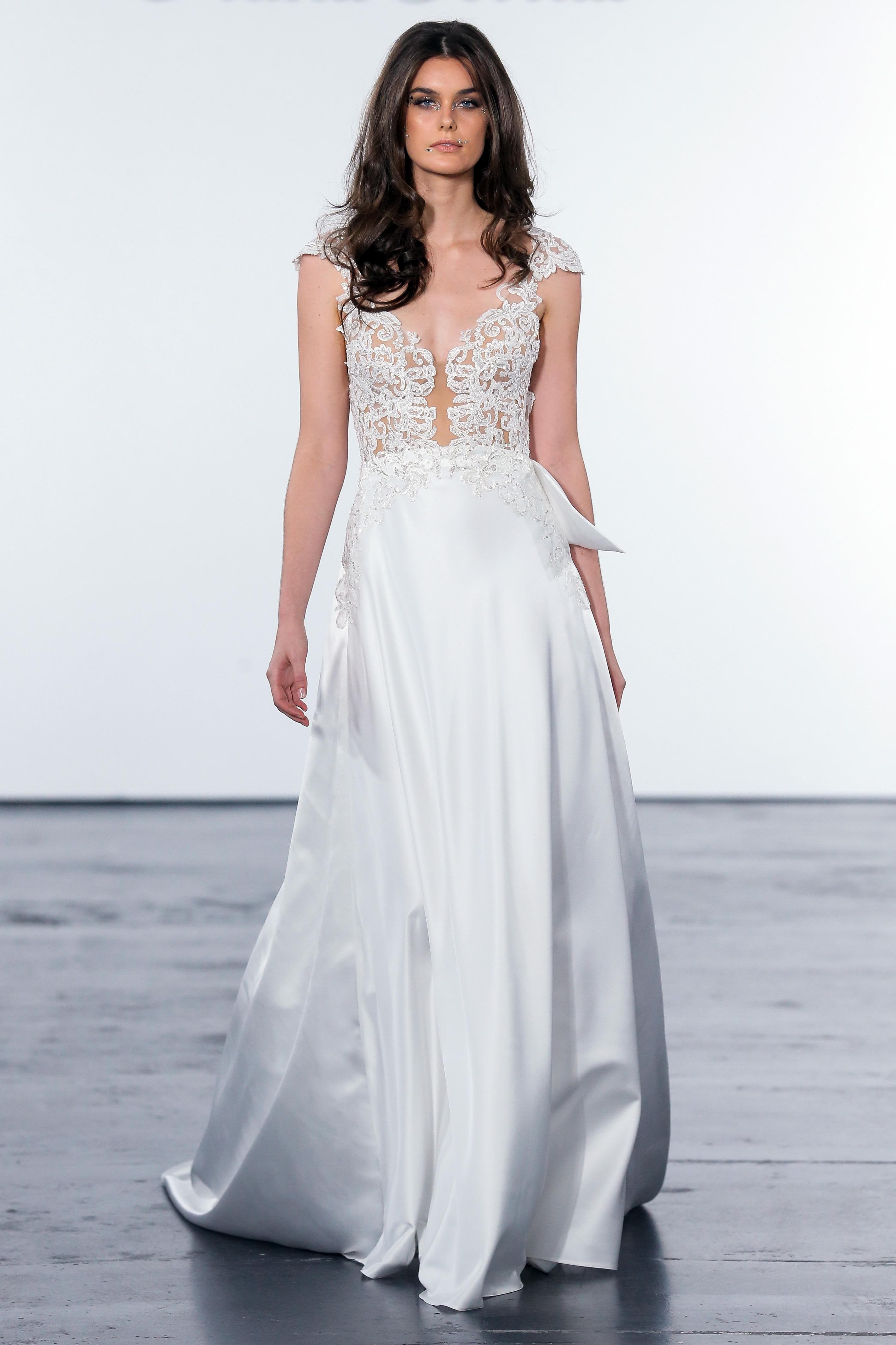 pnina tornai fall 2018 a-line lace bodice wedding ballgown
