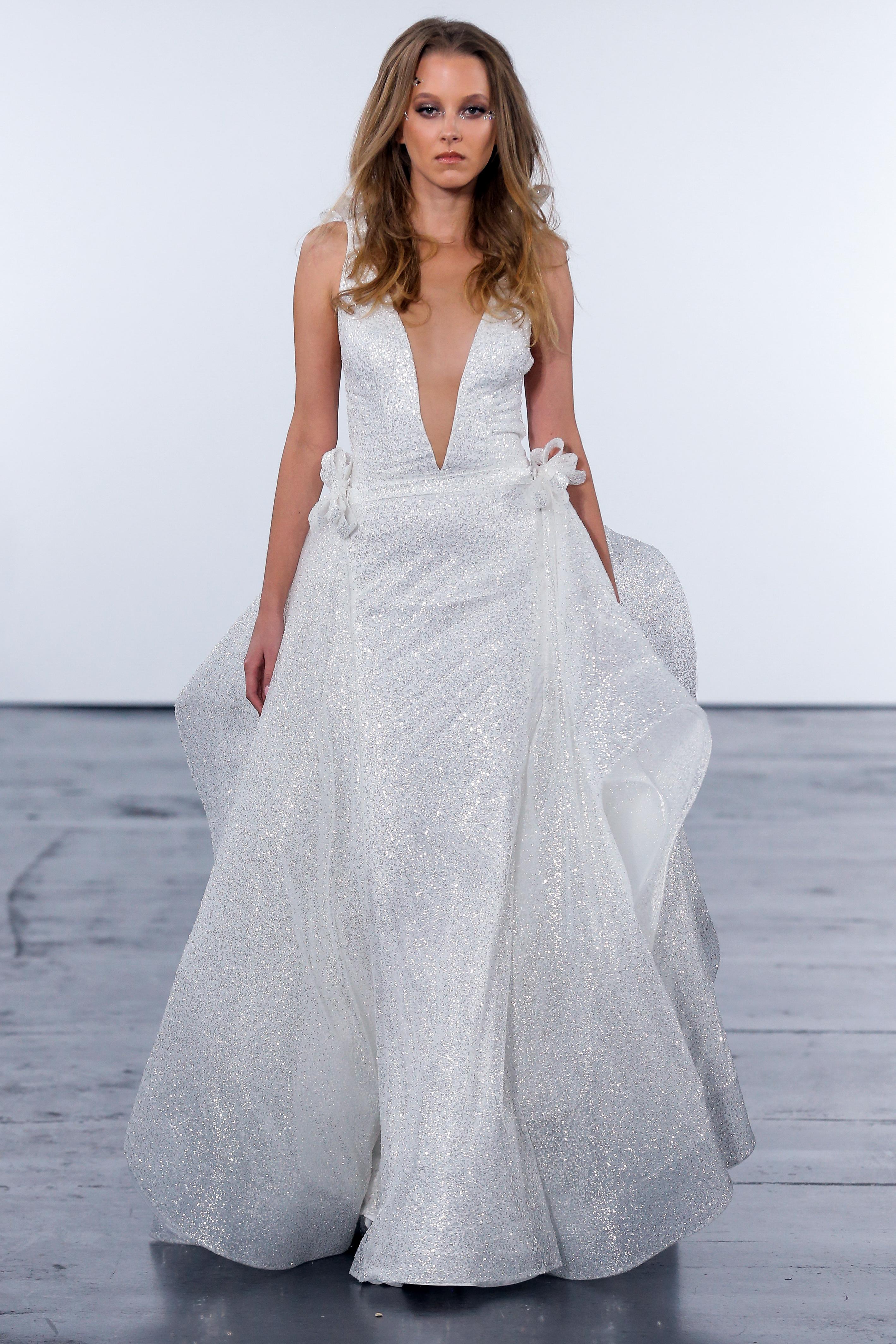 pnina tornai fall 2018 v-neck glitter wedding dress