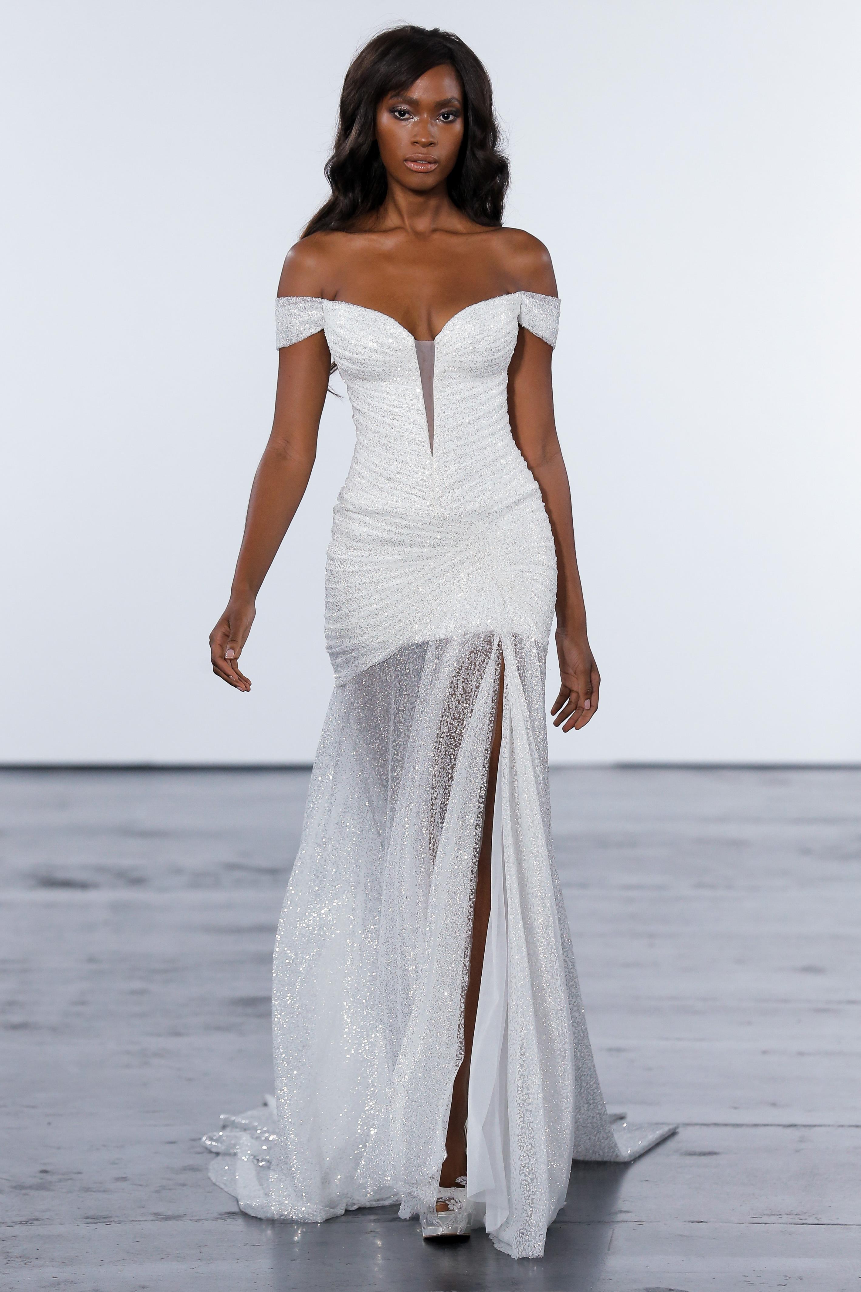 pnina tornai fall 2018 off shoulder glitter overlay wedding dress