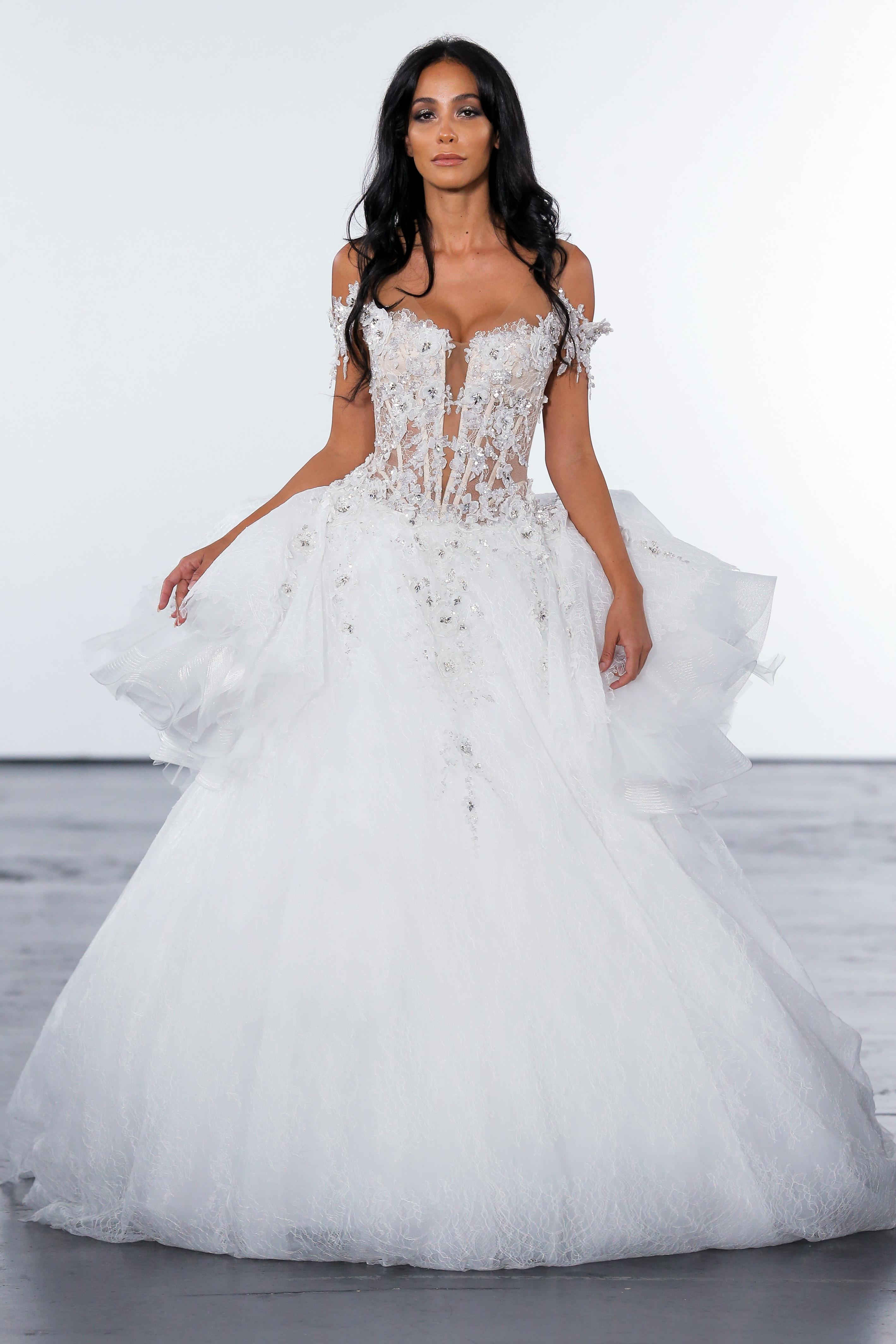pnina tornai fall 2018 off shoulder wedding ballgown