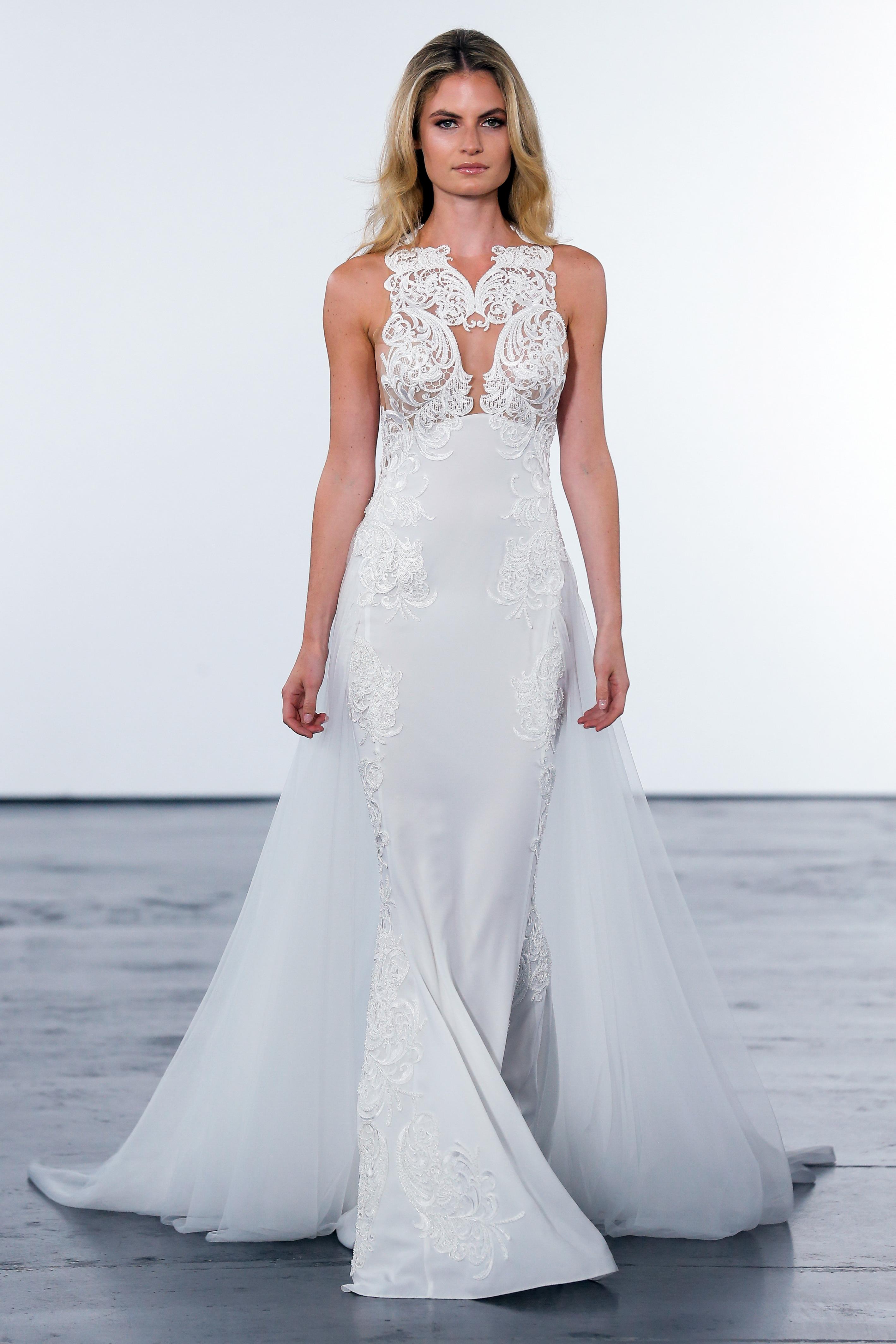 pnina tornai fall 2018 lace sheer overlay wedding dress