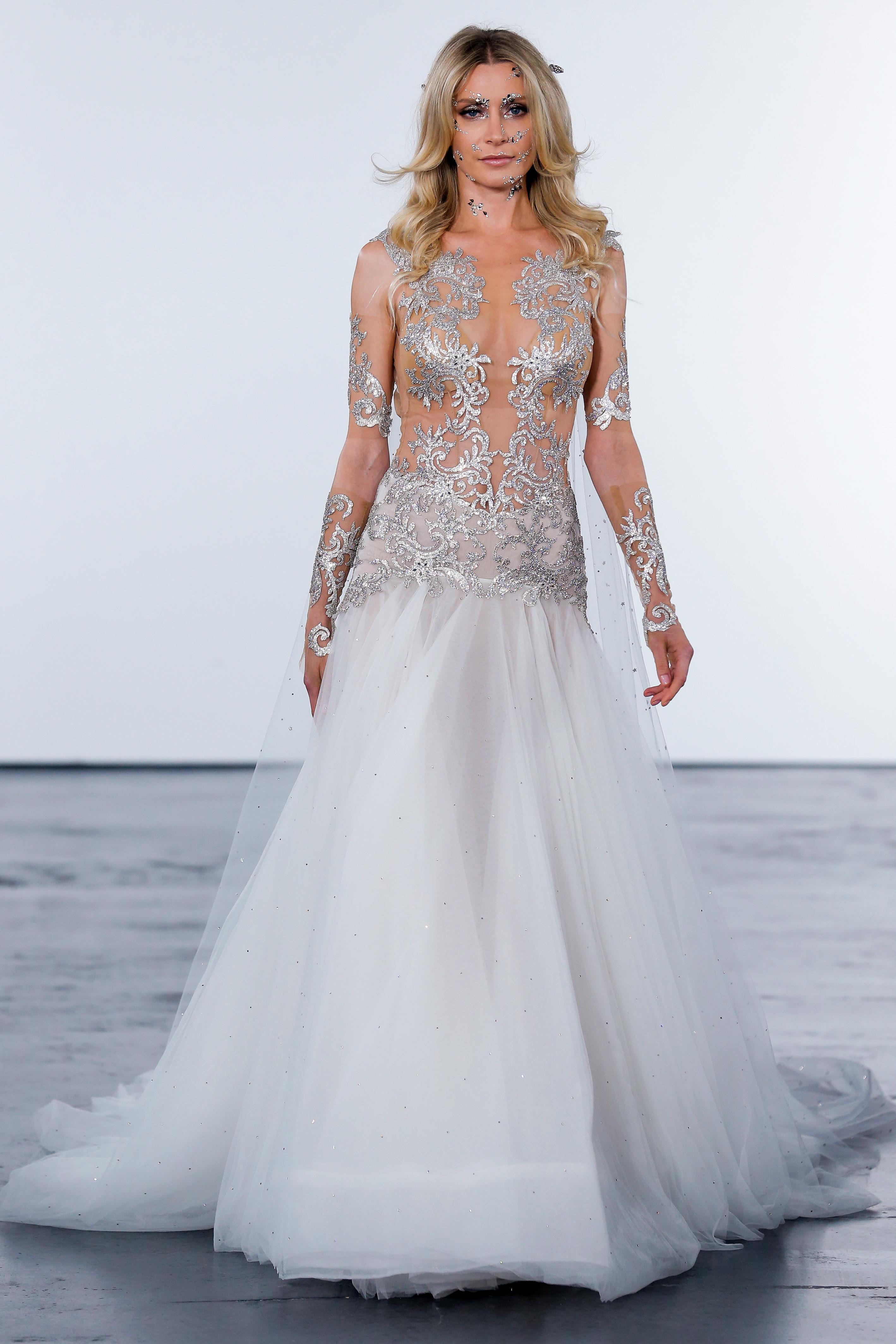 pnina tornai fall 2018 metallic top long sleeve wedding dress