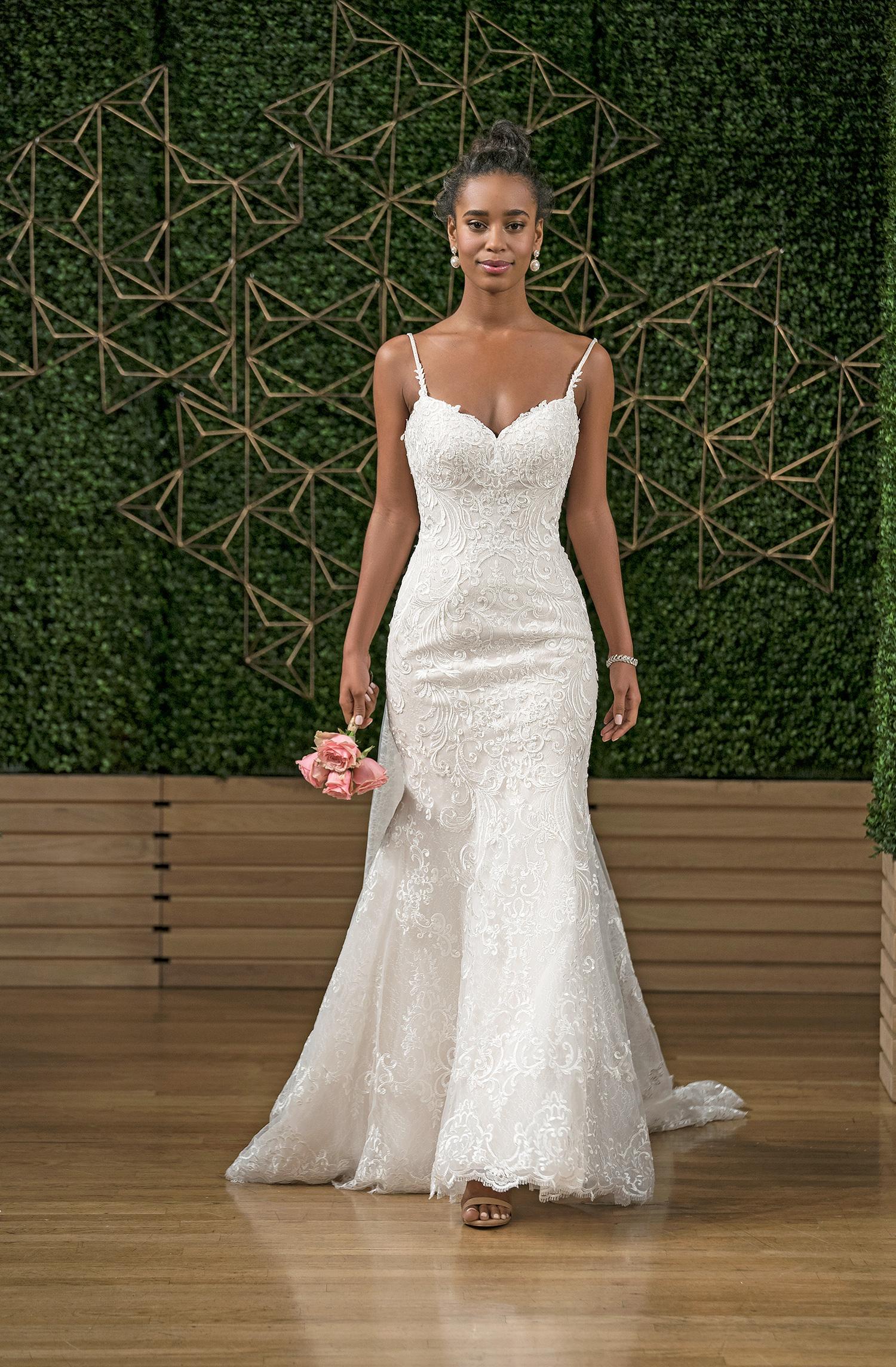 rebecca ingram spaghetti strap trumpet wedding dress fall 2018