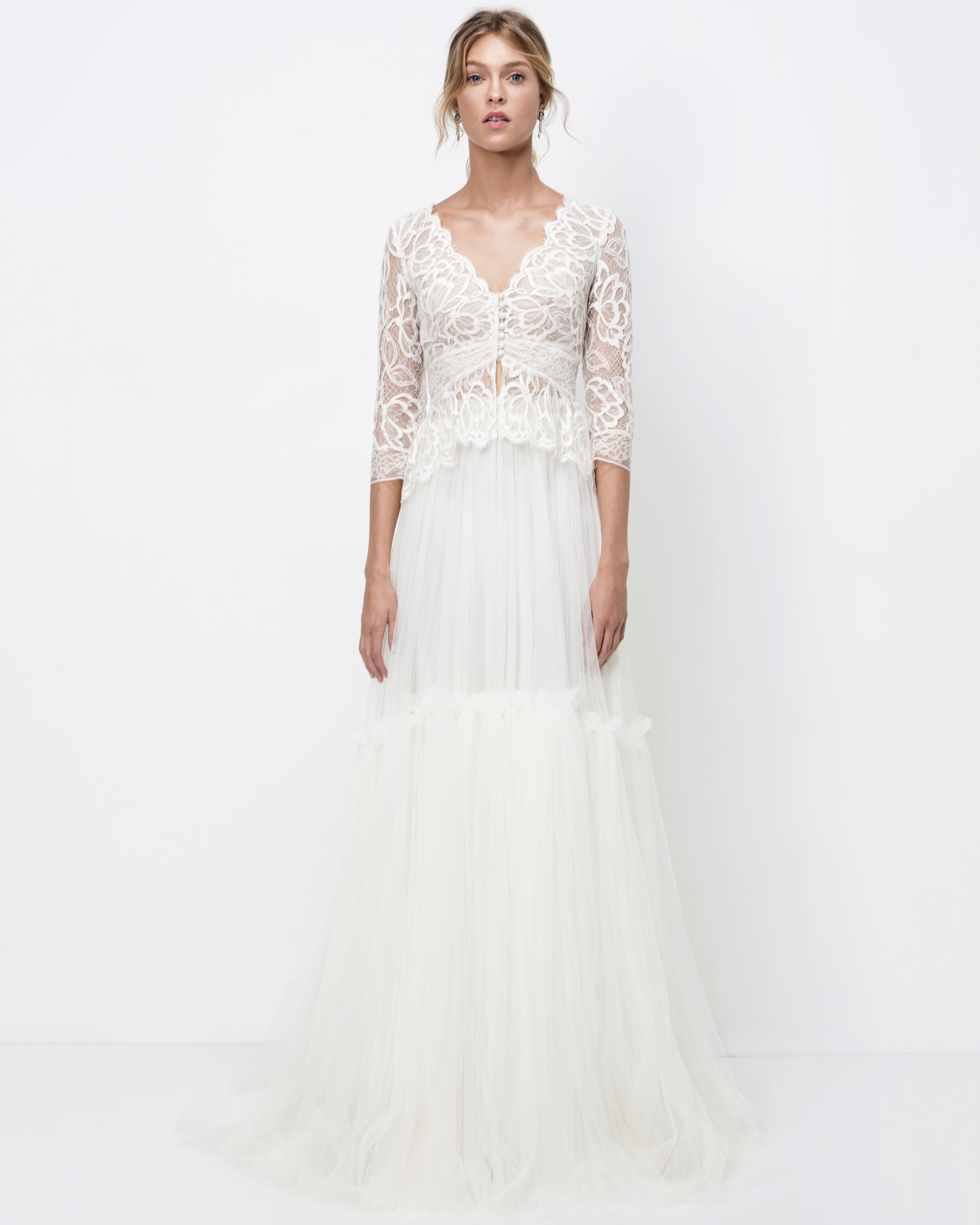 lihi hod a-line wedding dress with three-quarter length sleeves fall 2018