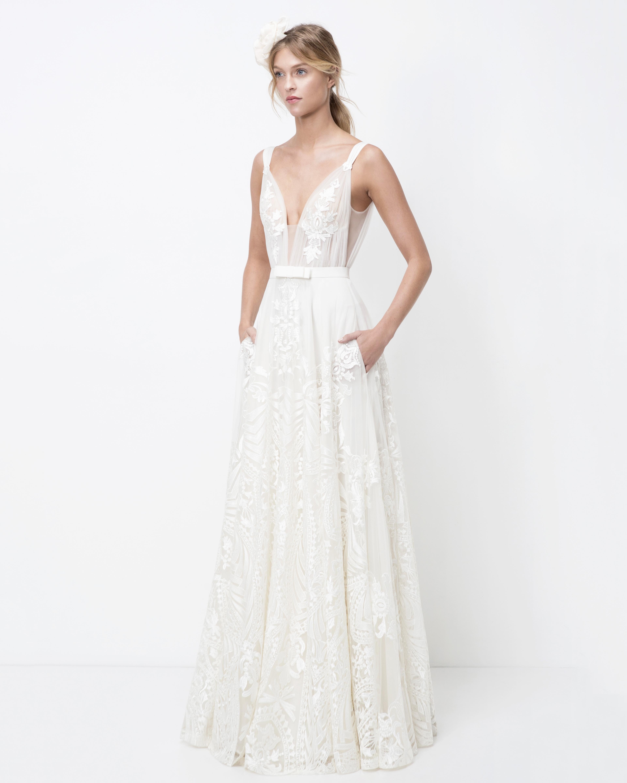 lihi hod plunging neck belted a-line wedding dress fall 2018