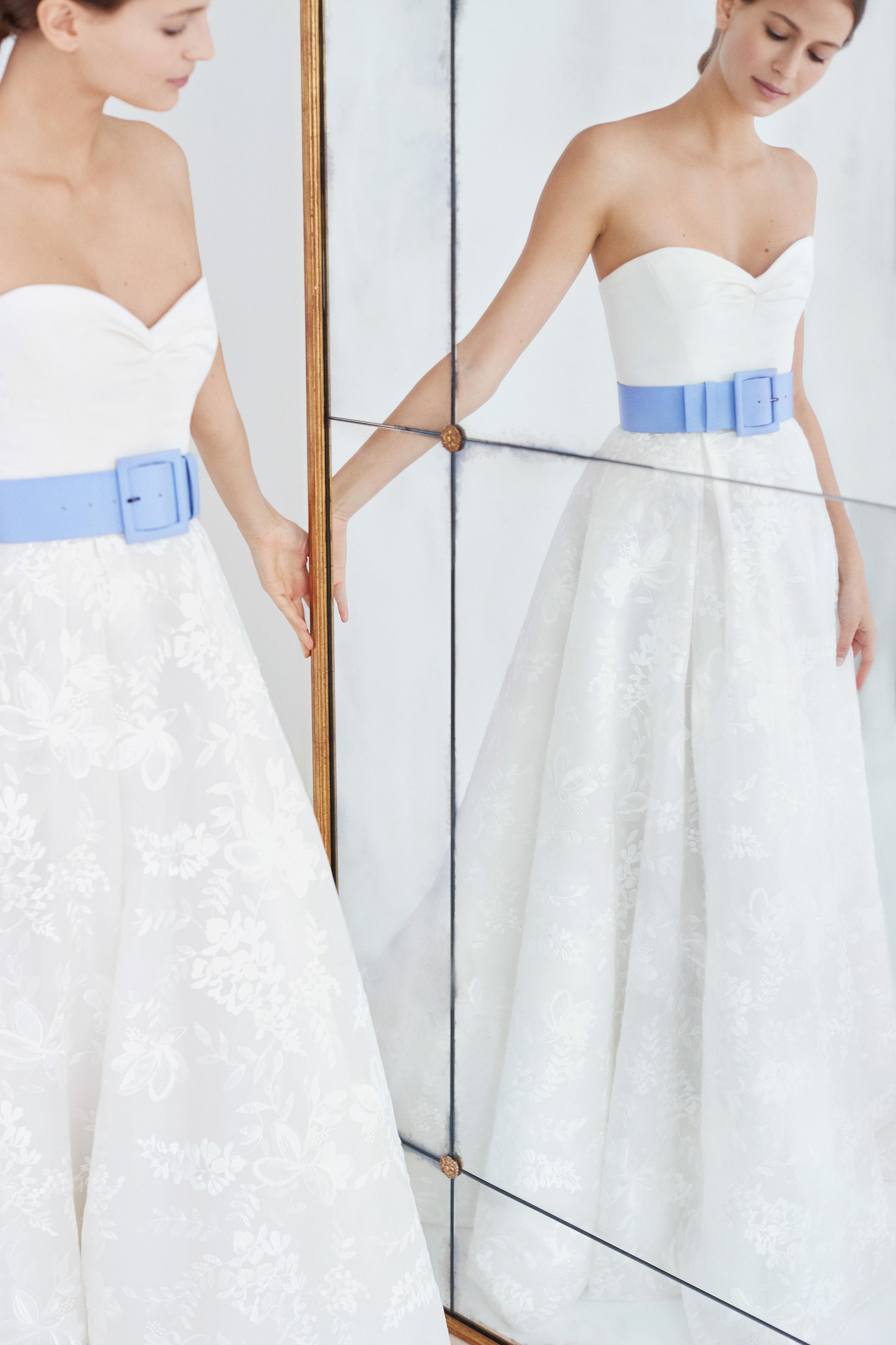 carolina herrera wedding dress fall 2018 sweetheart blue belted