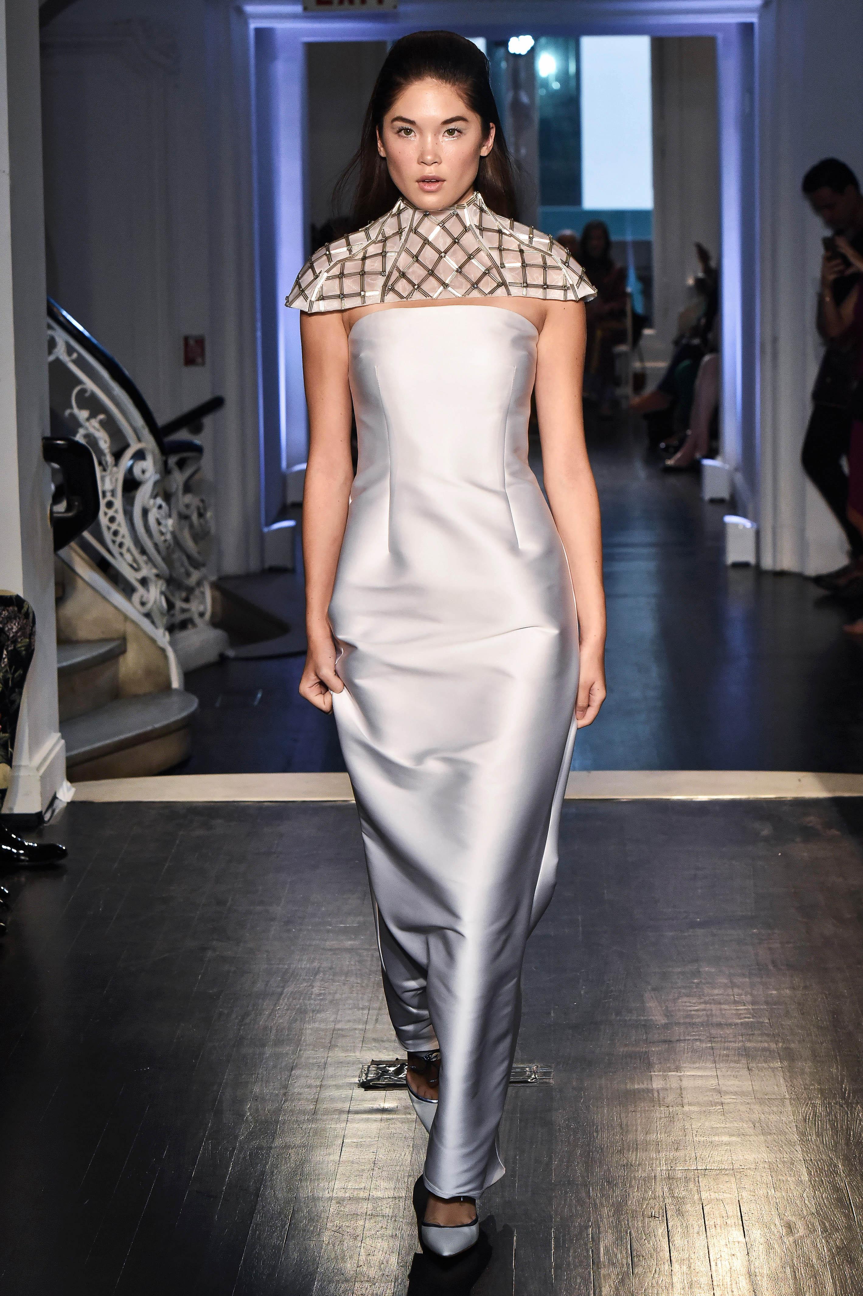 lakum wedding dress fall 2018 strapless capelet satin