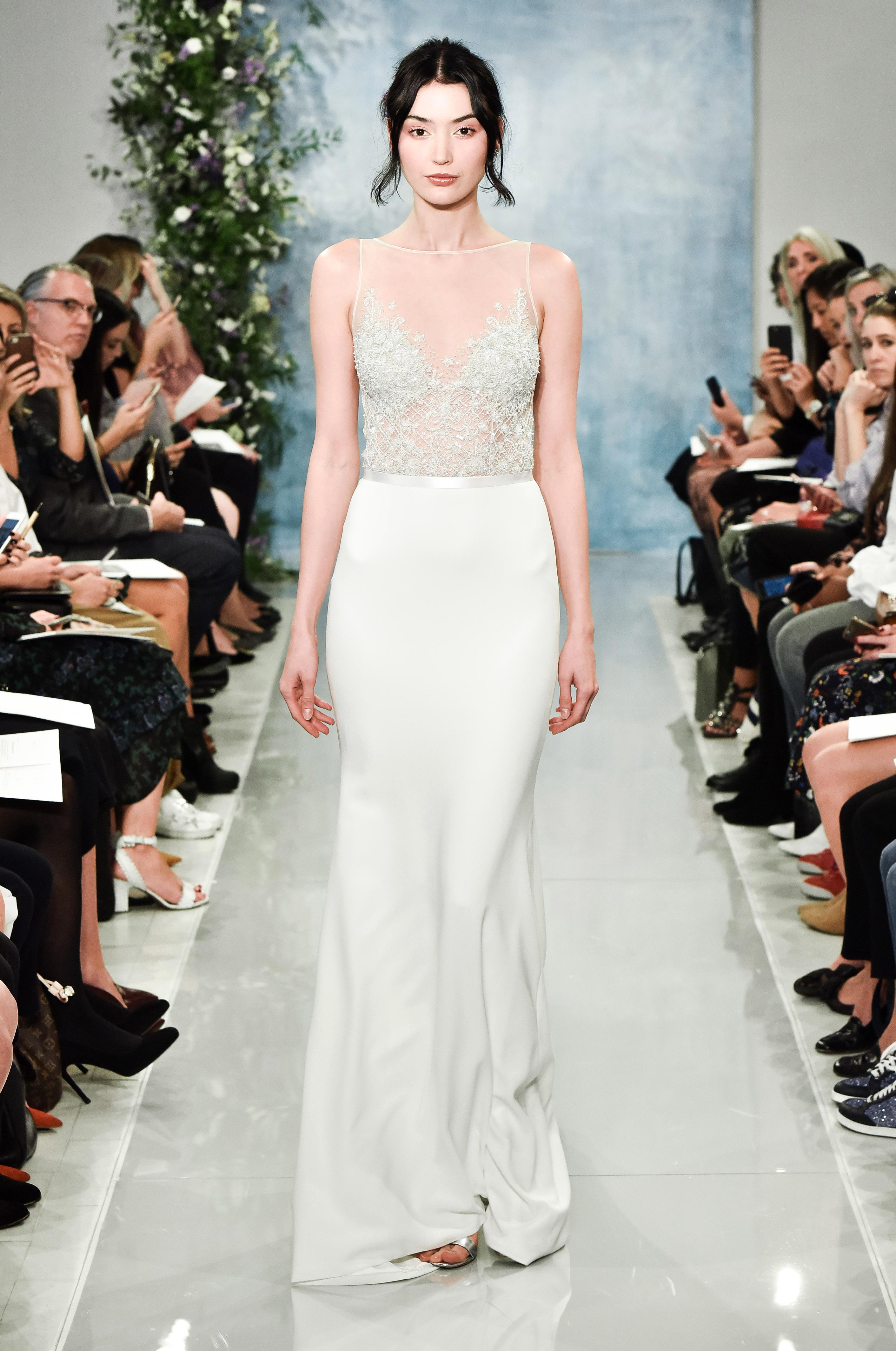 theia sheer sheath wedding dress fall2018