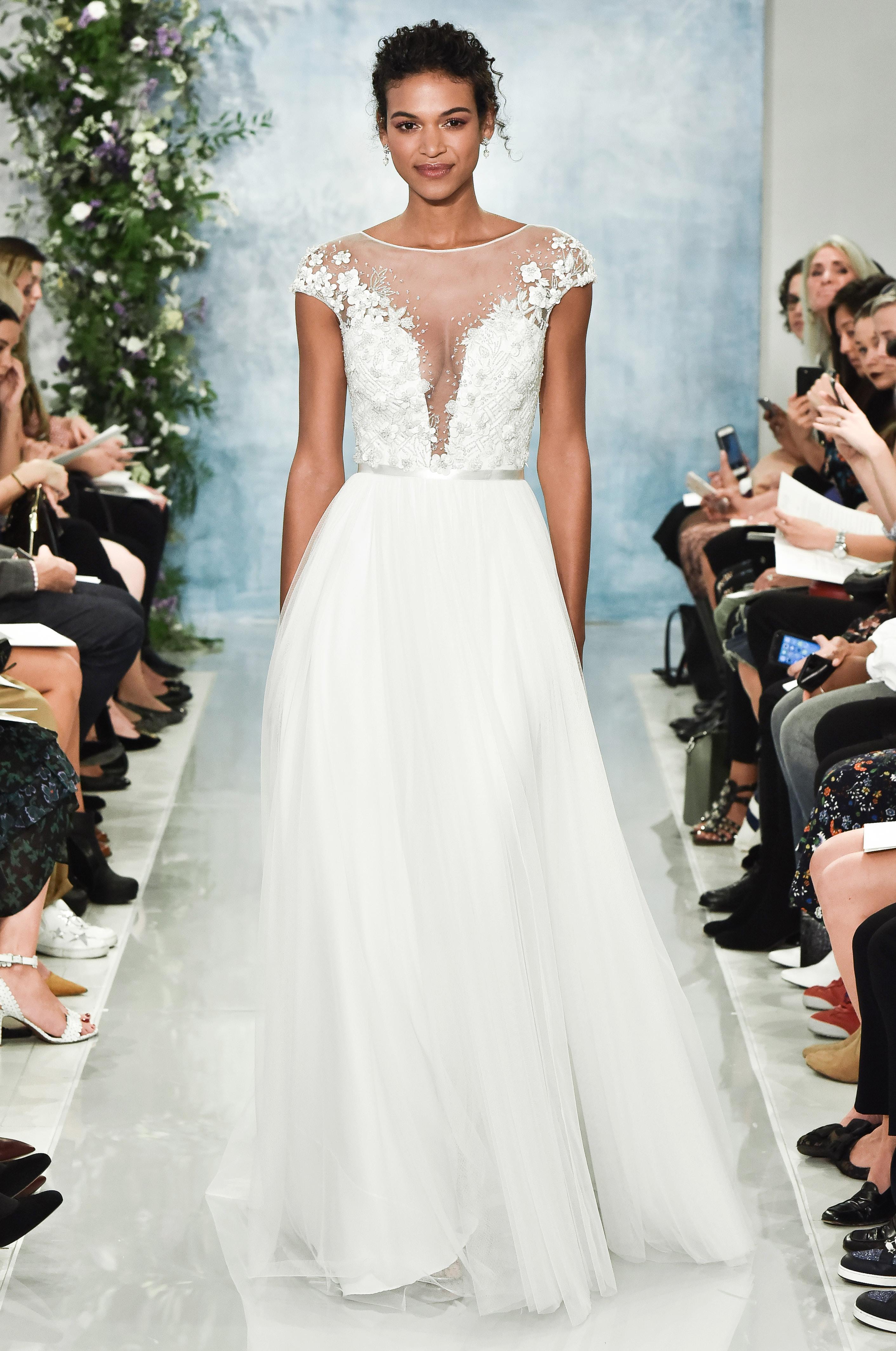 theia cap sleeve a-line wedding dress fall2018