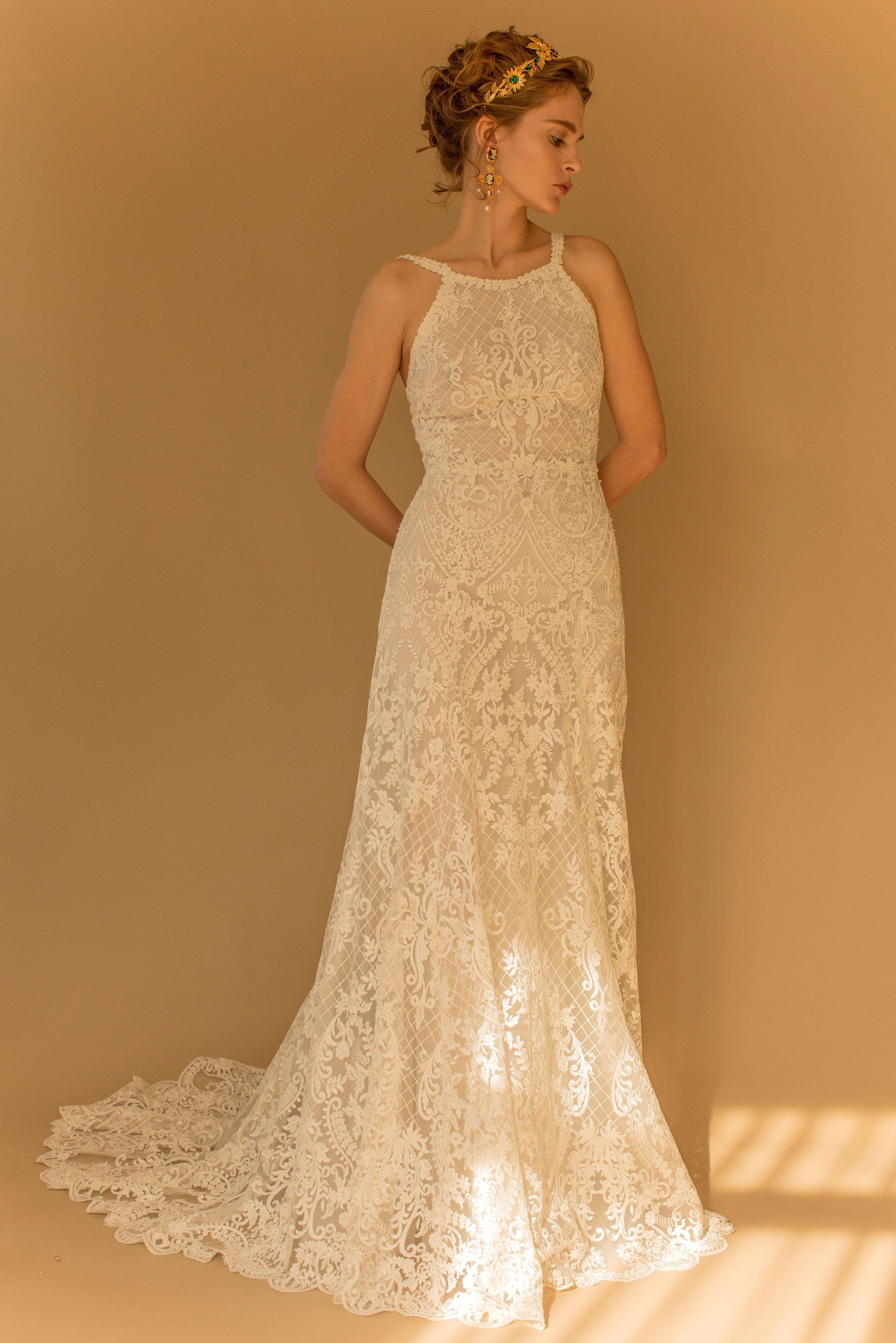 francesca miranda wedding dress fall 2018 lace high neck a-line