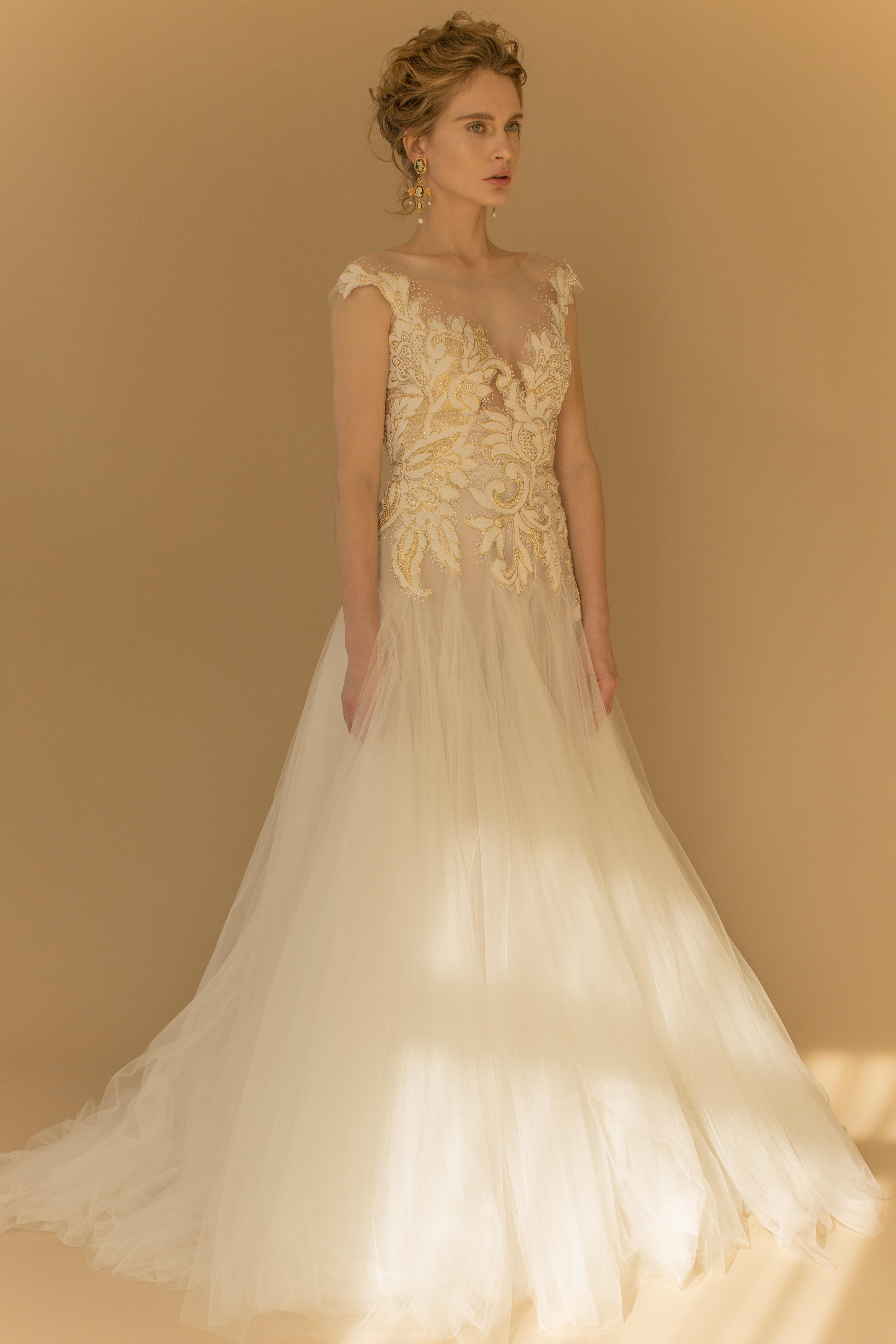 francesca miranda wedding dress fall 2018 white gold