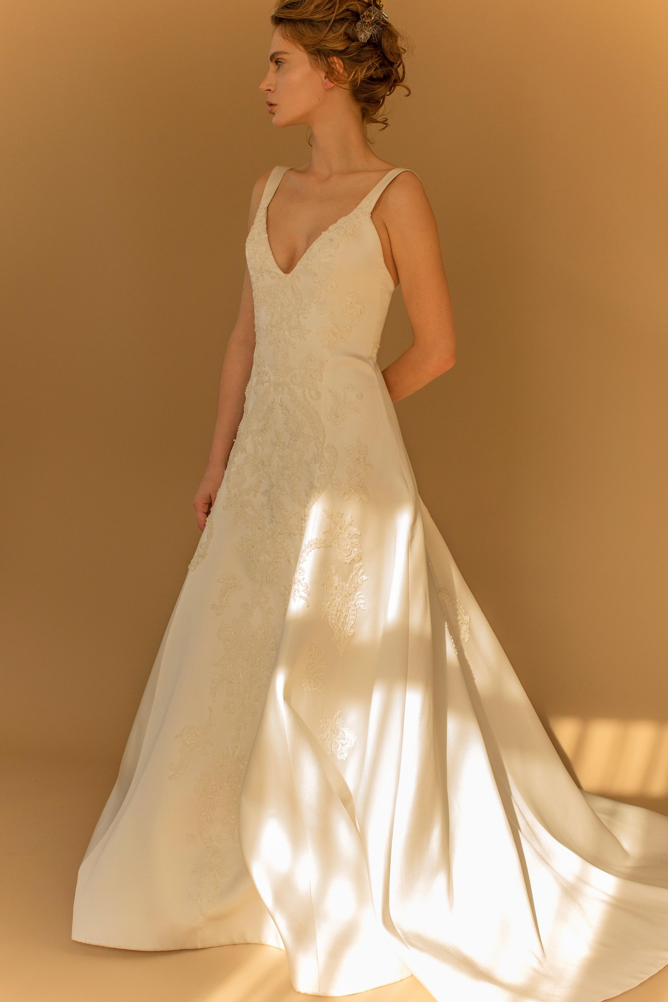 francesca miranda wedding dress fall 2018 v-neck sleeveless a-line