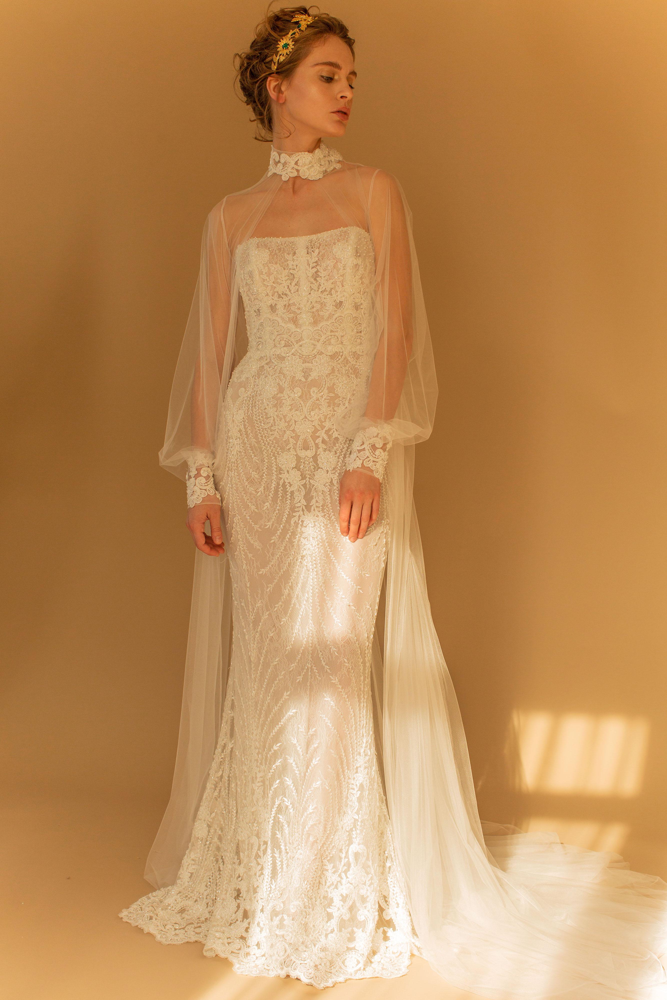 francesca miranda wedding dress fall 2018 illustion long sleeves embellished