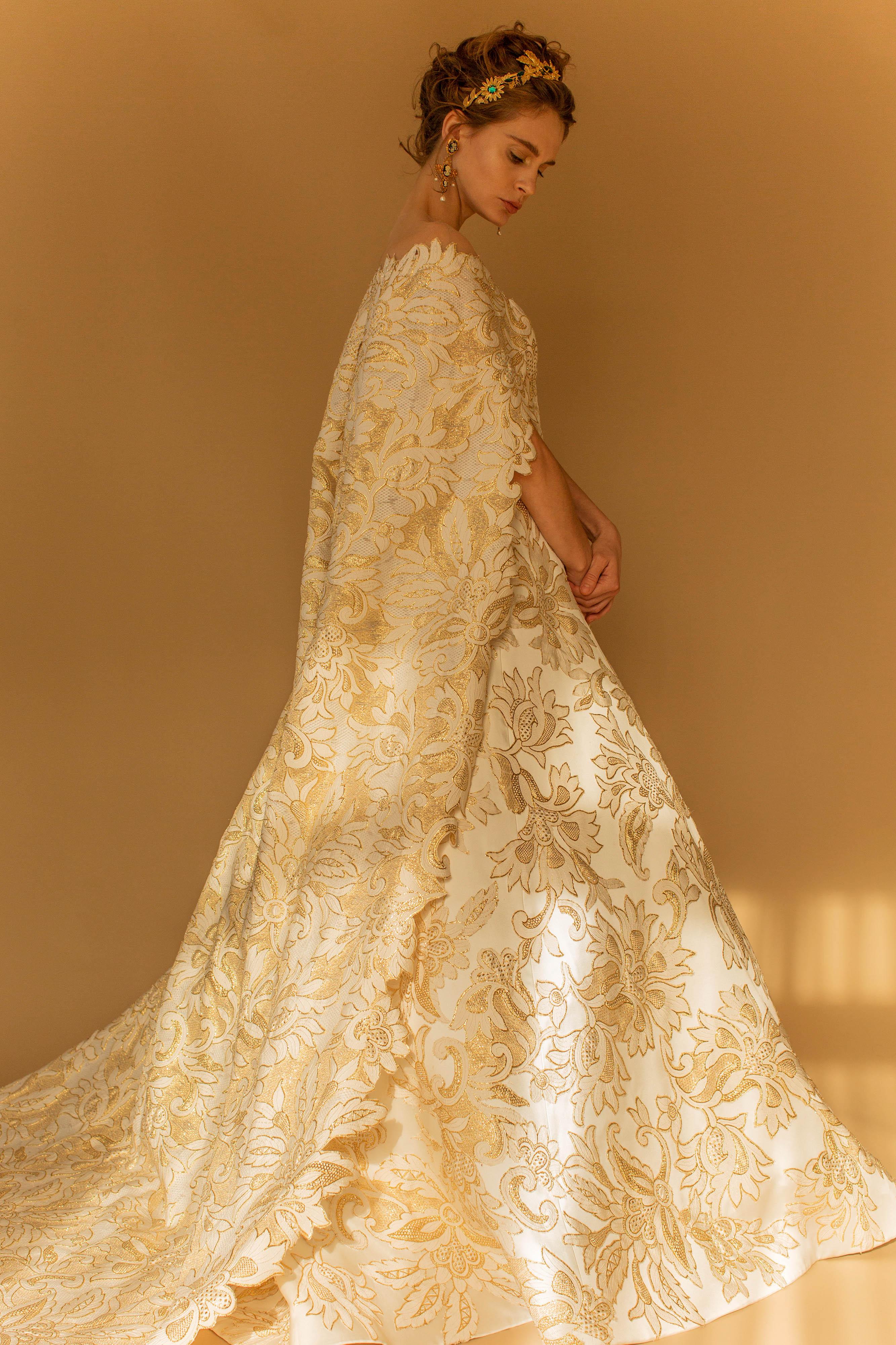 francesca miranda wedding dress fall 2018 cape gold ball gown