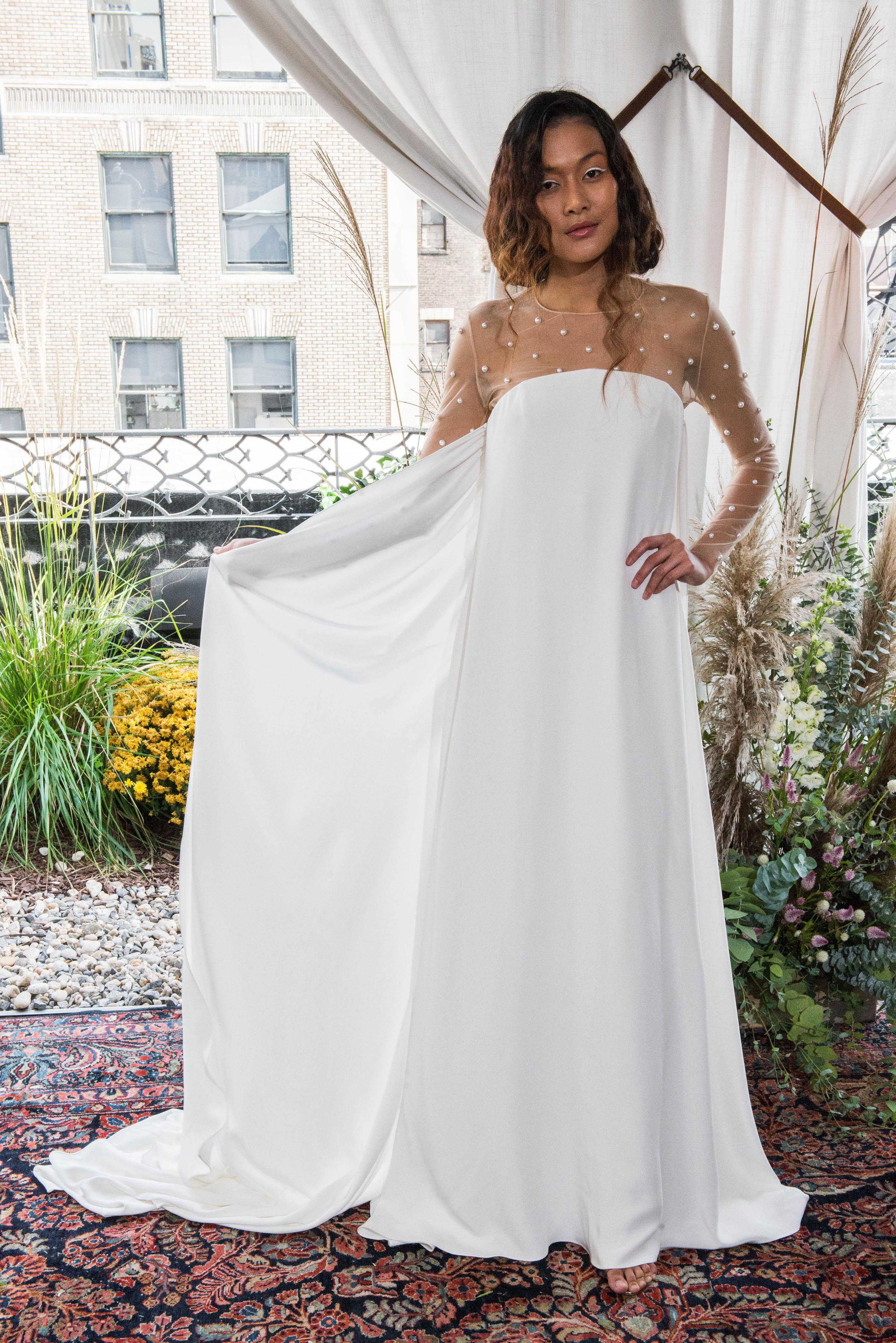 alexandra grecco wedding dress fall 2018 long sleeves illusion column
