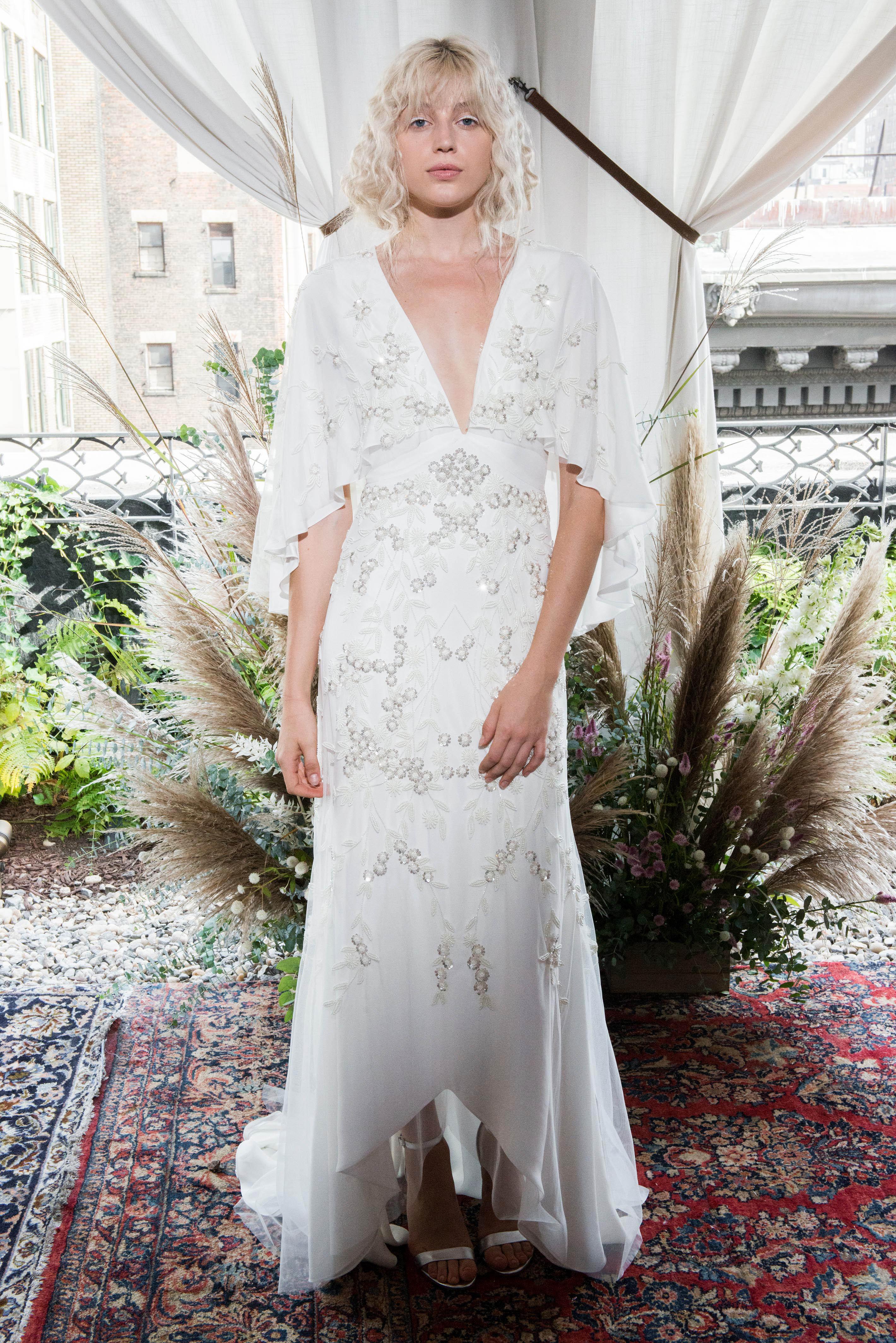 alexandra grecco wedding dress fall 2018 v-neck embellished sleeves capelet