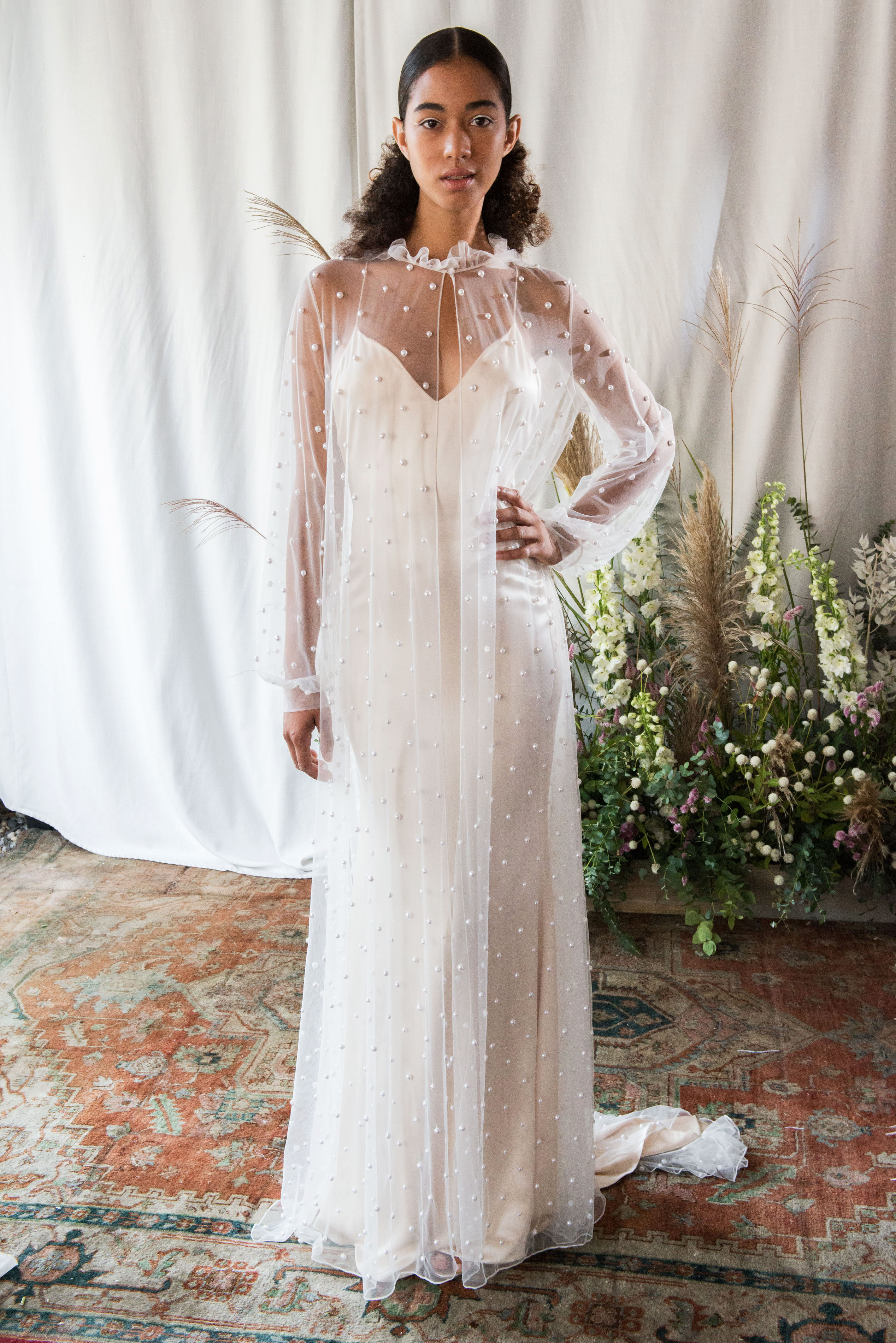 alexandra grecco wedding dress fall 2018 mesh overlay long sleeves spaghetti strap