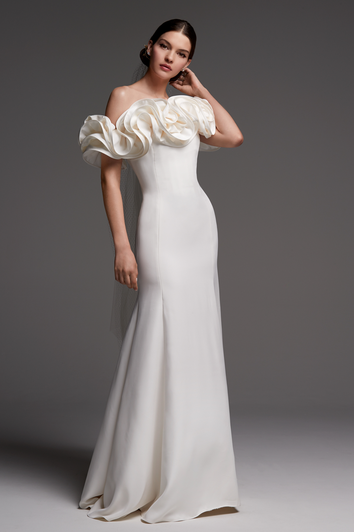 watters wedding dress fall 2018 off the shoulder ruffle