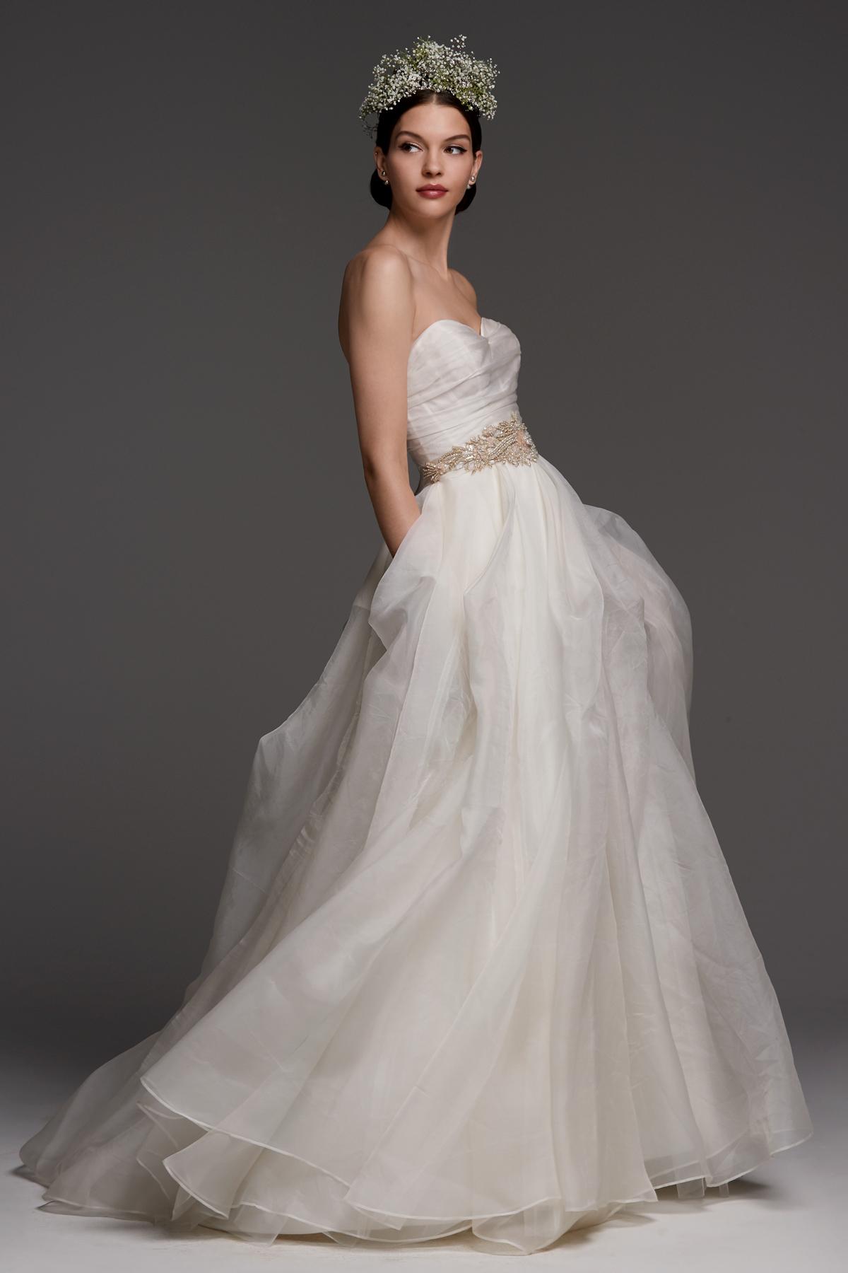 watters wedding dress fall 2018 strapless lace sweetheart