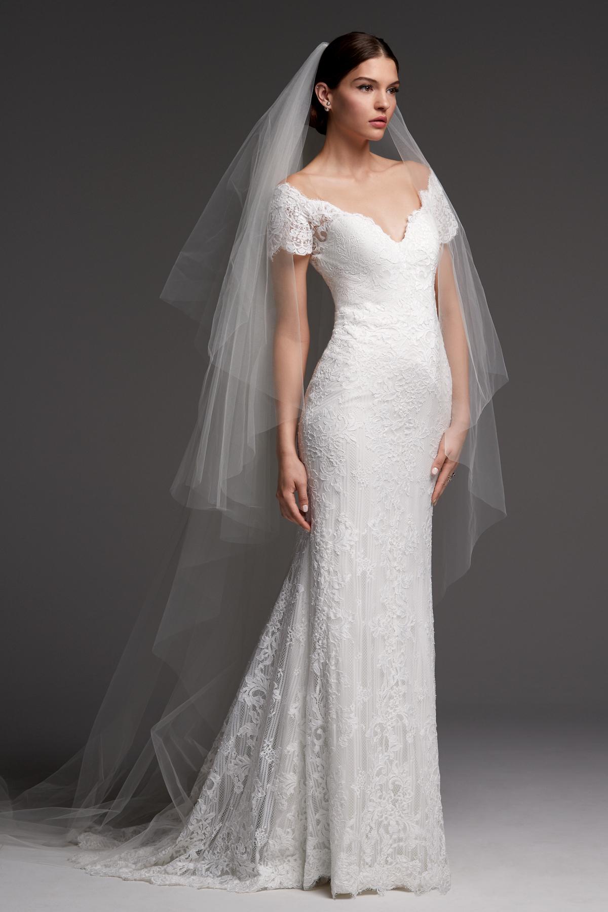 watters wedding dress fall 2018 v-neck sheath lace